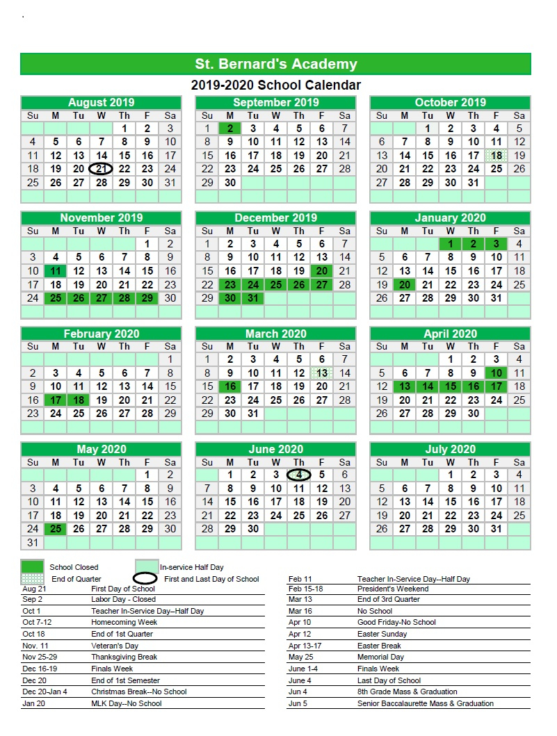 School Calendar 2019 20 | St. Bernard's Academy Intended For University Of Rhosde Island Calendar 20 21