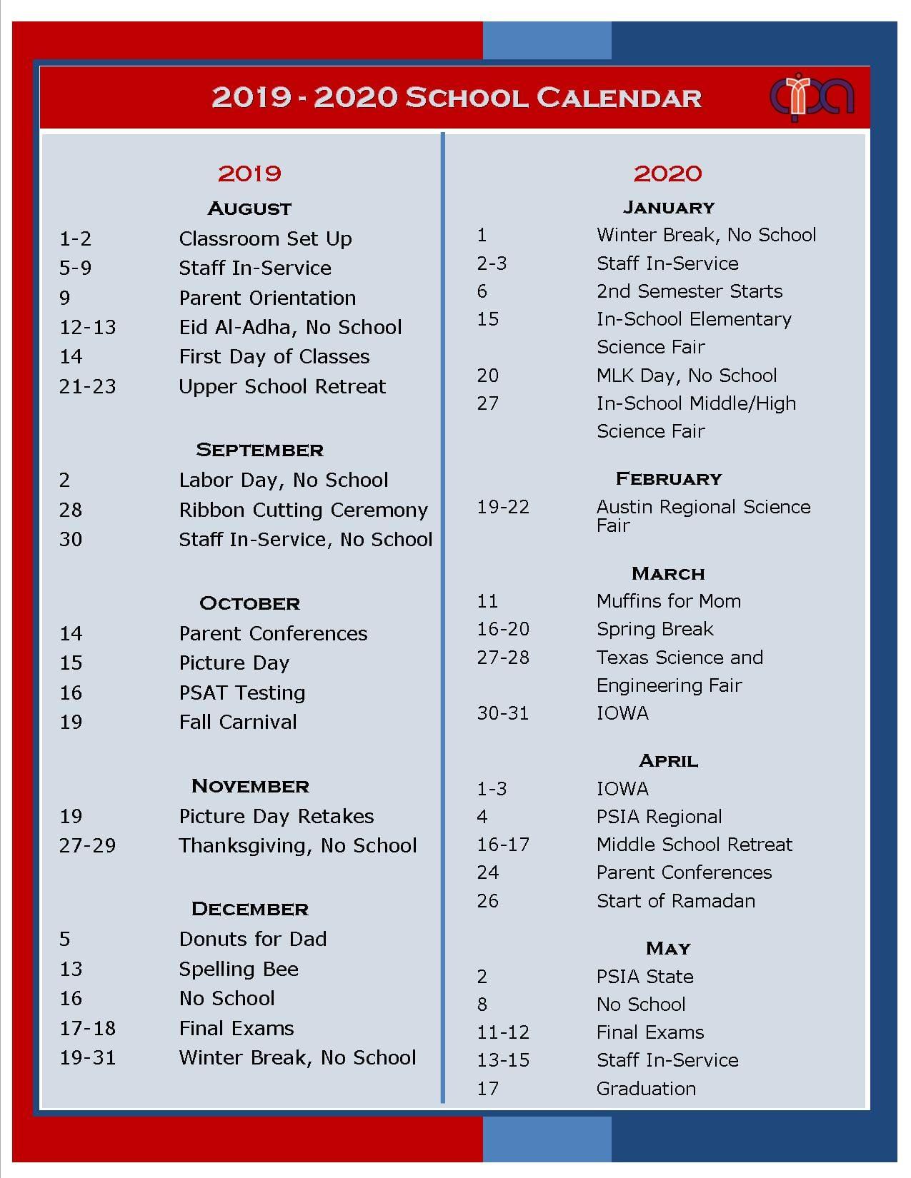 School Calendar 2019 2020 – Austin Peace Academyaustin Peace Throughout To Do In Austin Calendar
