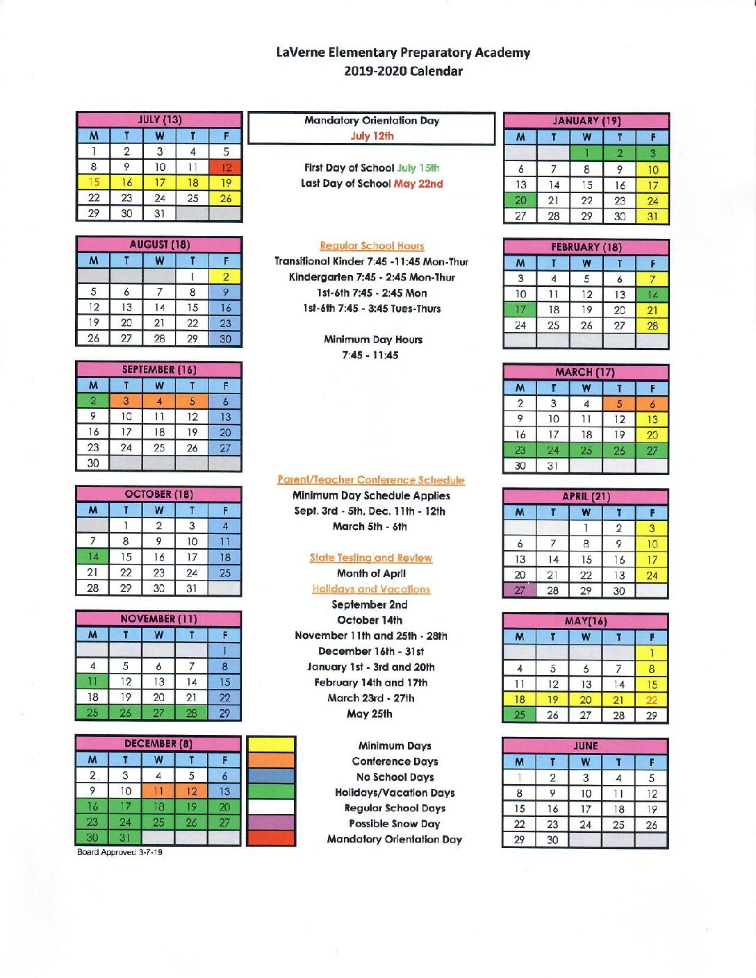 School Calendar 2019-2020 – Lepacademy with regard to Victorville Elementary School Calendar