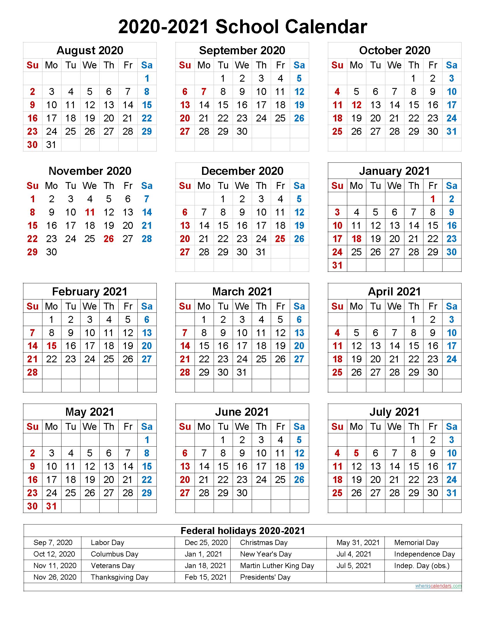 School Calendar 2020 And 2021 Printable (Portrait)  Template For Printable 2020 2021 School Calendar
