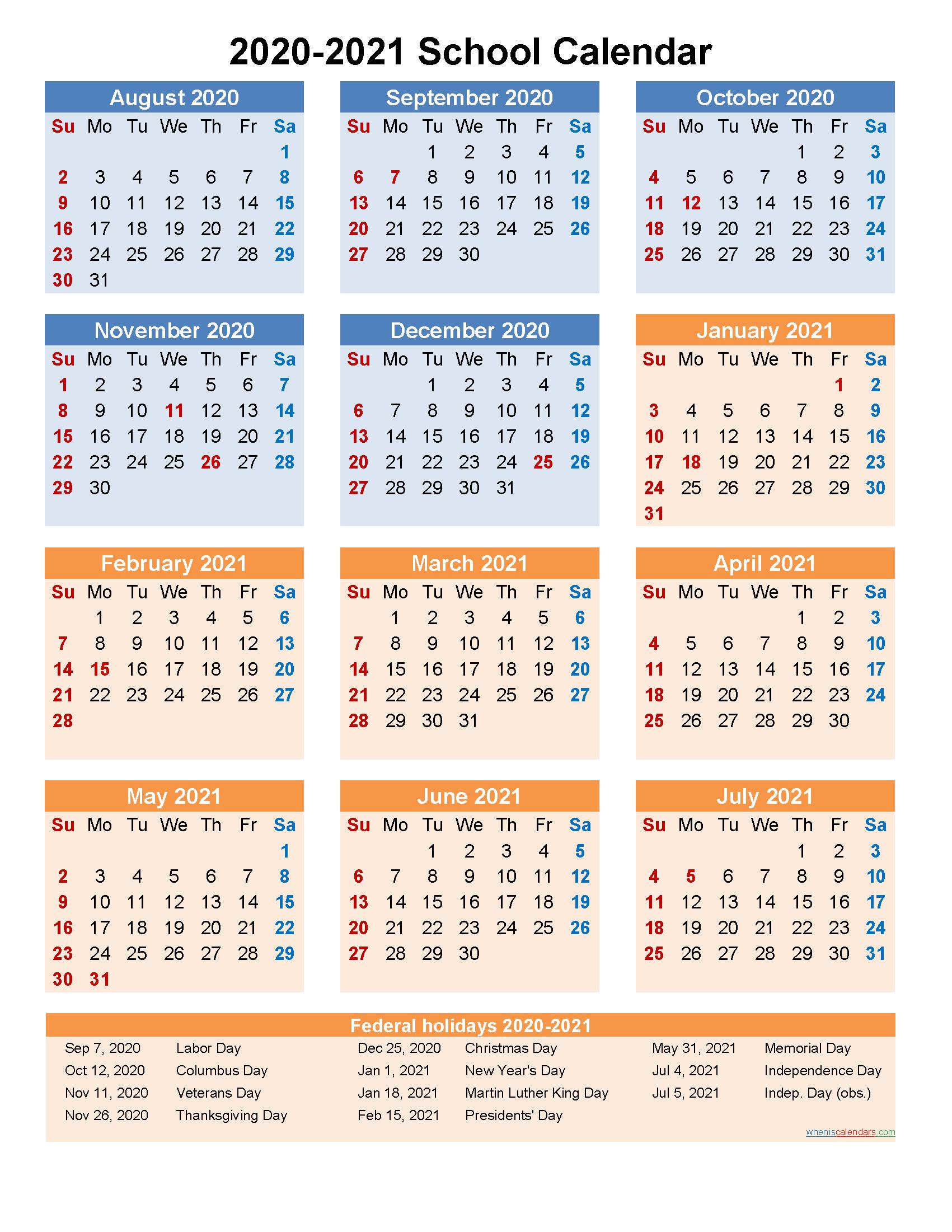 School Calendar 2020 And 2021 Printable (Portrait)  Template With Regard To Printable 2020 2021 School Calendar