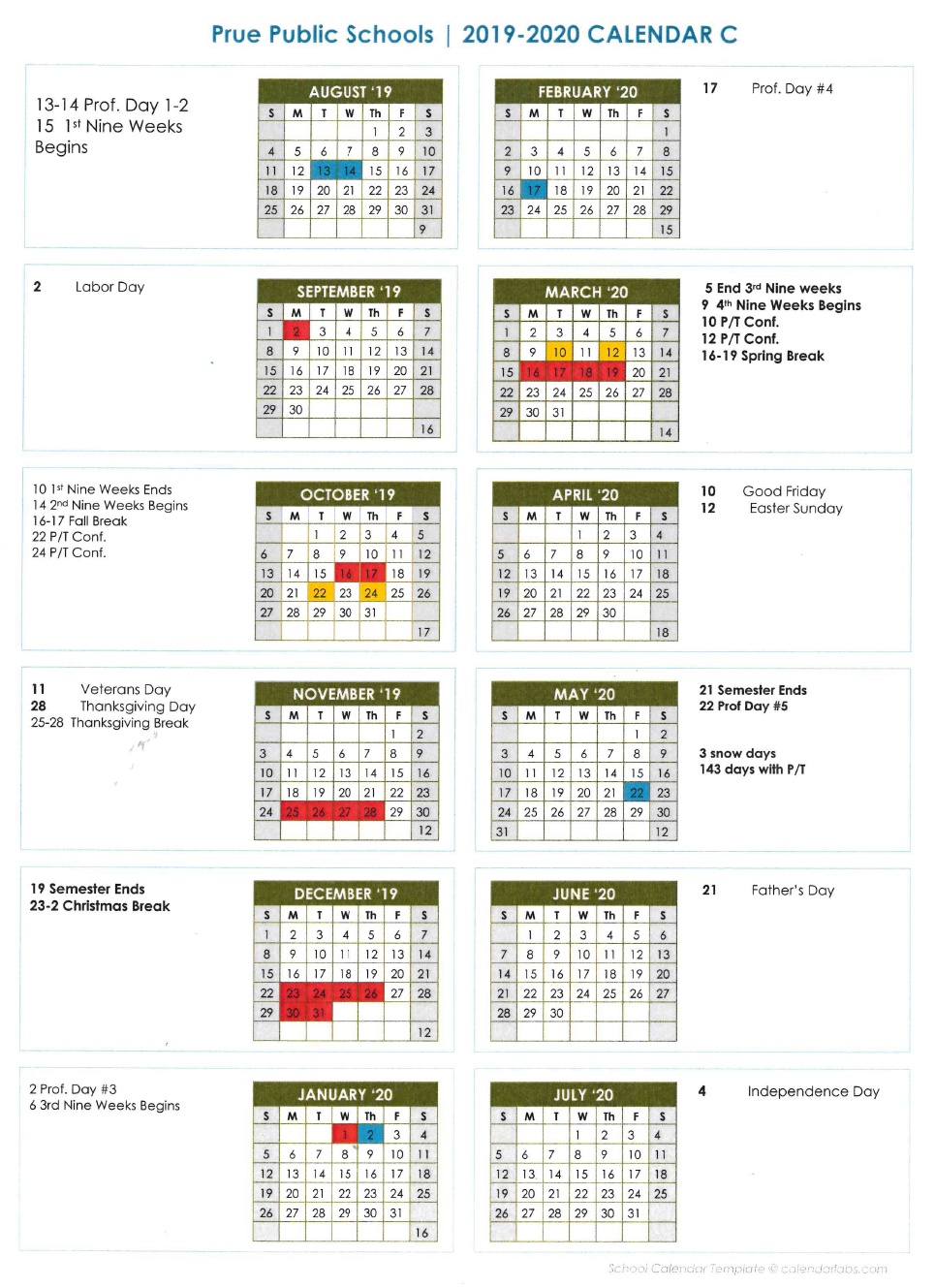 School Calendar – About Us – Prue Public Schools Regarding Broken Arrow Public Schools Calendar