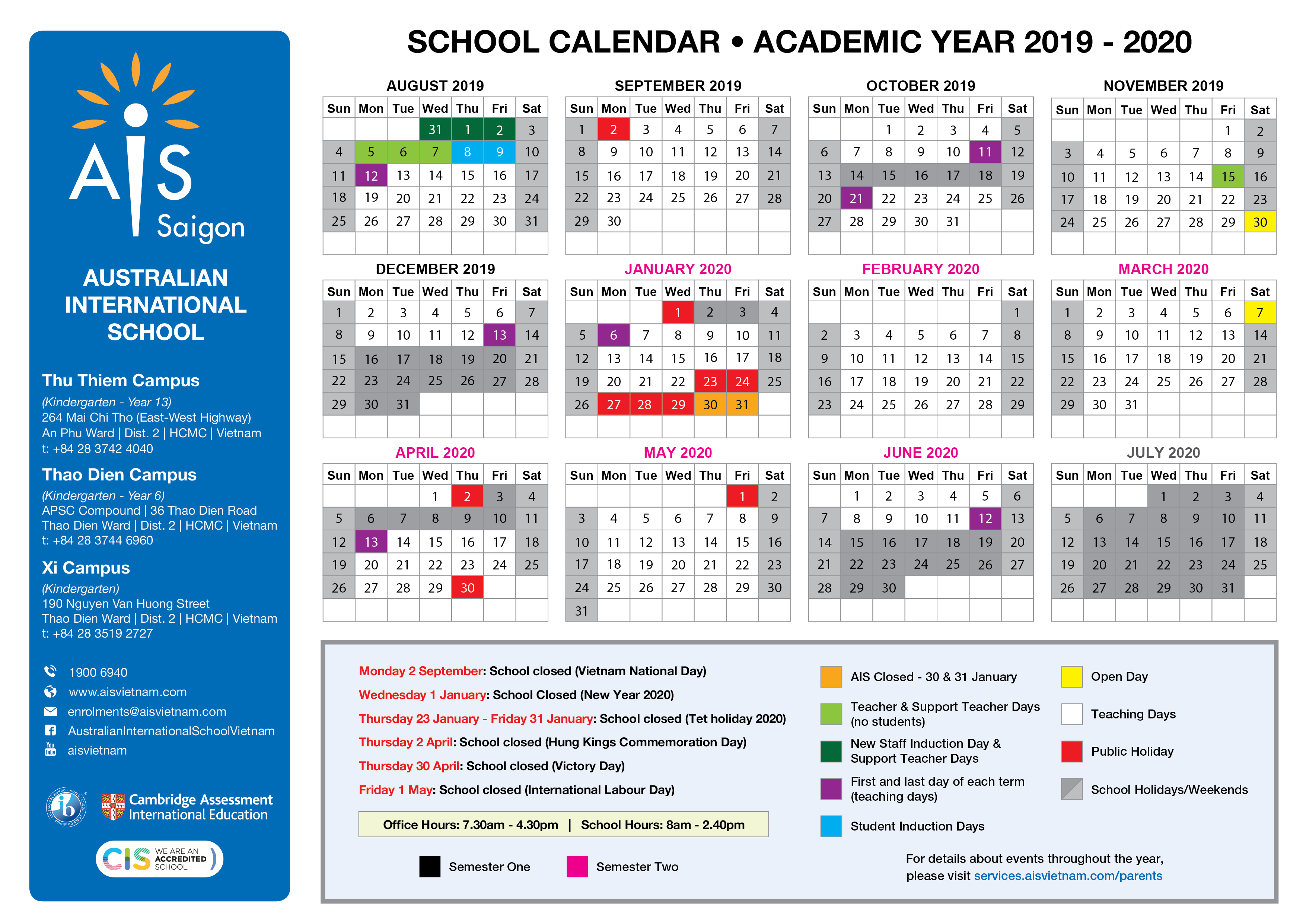 School Calendar – Australian International School With University Toledo Academic Calendar