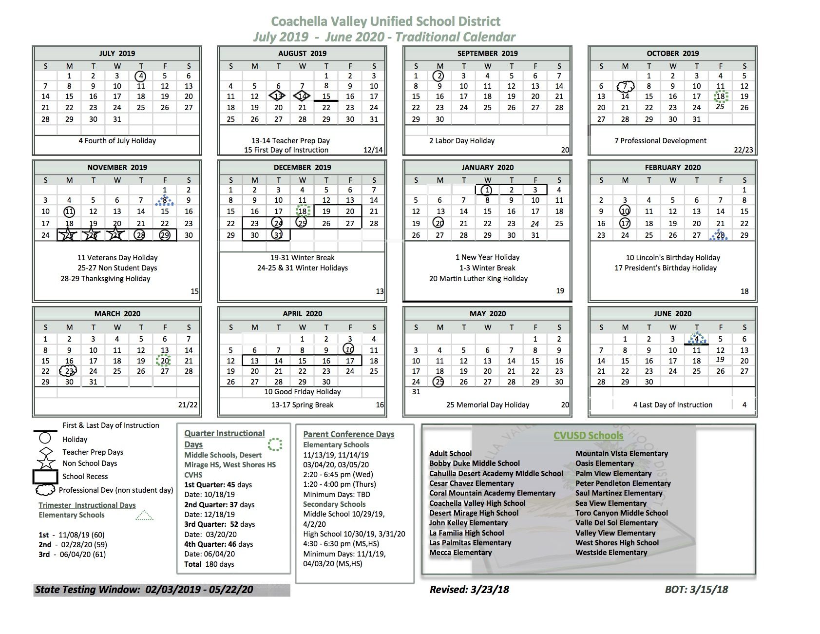 School Calendar – Cahuilla Desert Academy Pertaining To Martinez Unified School Calendar