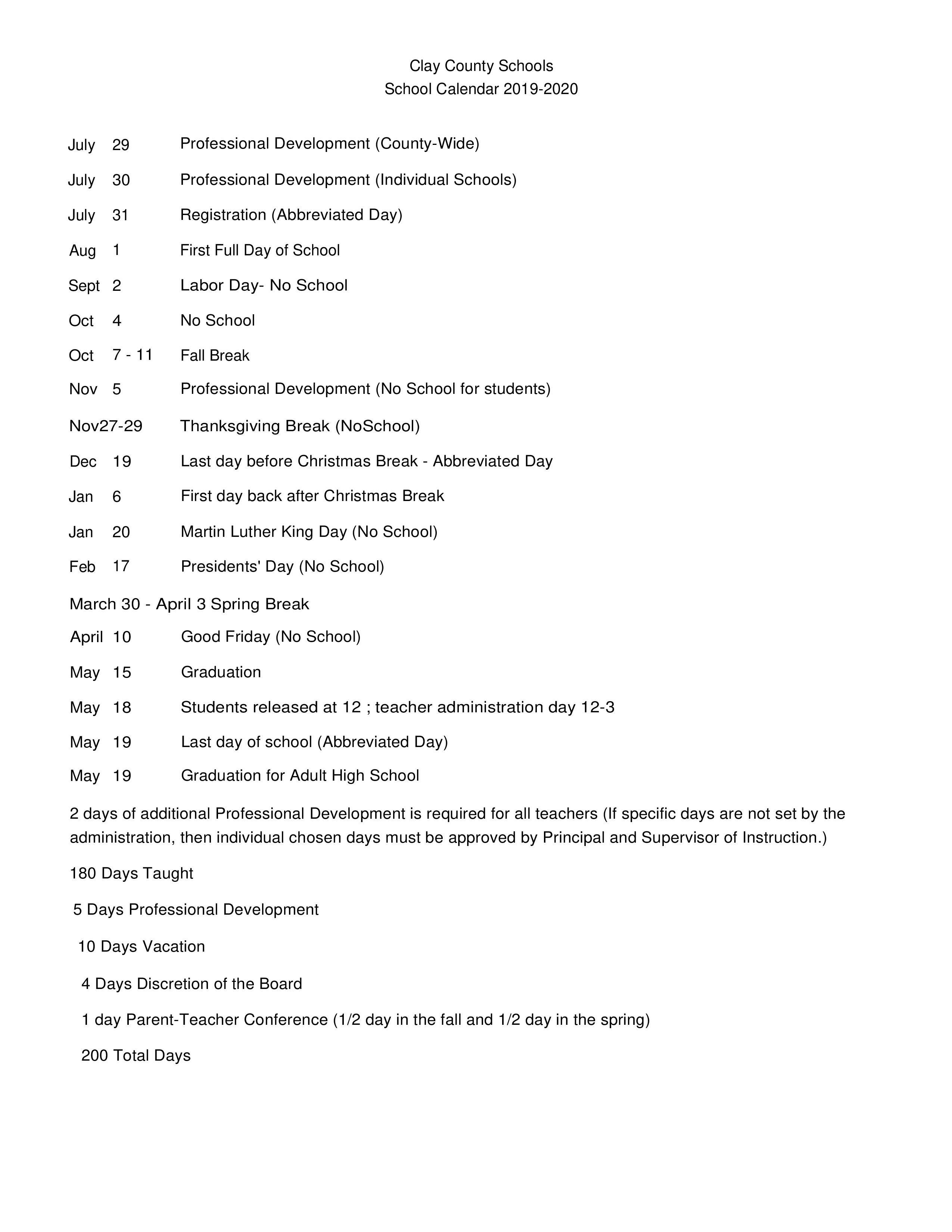 School Calendar - Clay County Schools Within Clay County Fl School Calendar