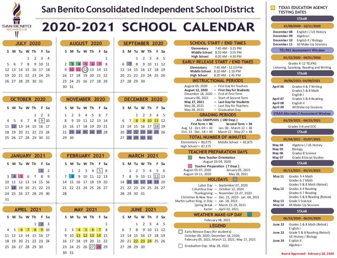 School Calendar – District – San Benito Consolidated Regarding Brownsville Isd Calendar 2021