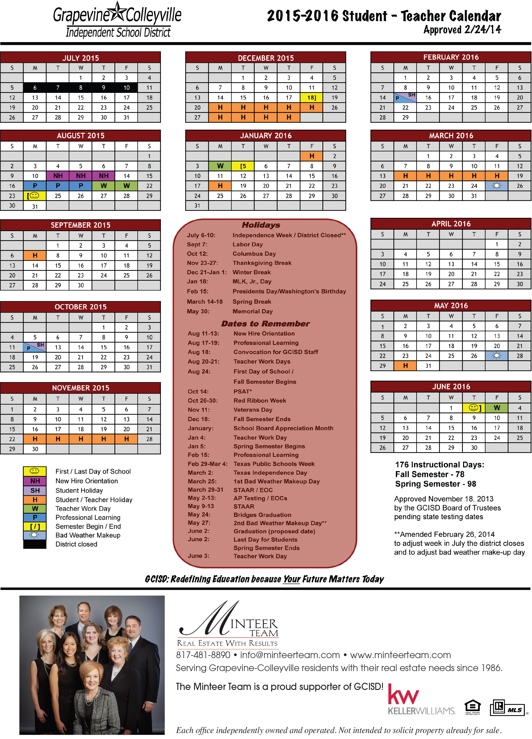 School Calendar For Gcisd (2015 2016) – Minteer Real Estate Team Within Fort Worth Isd Calendar