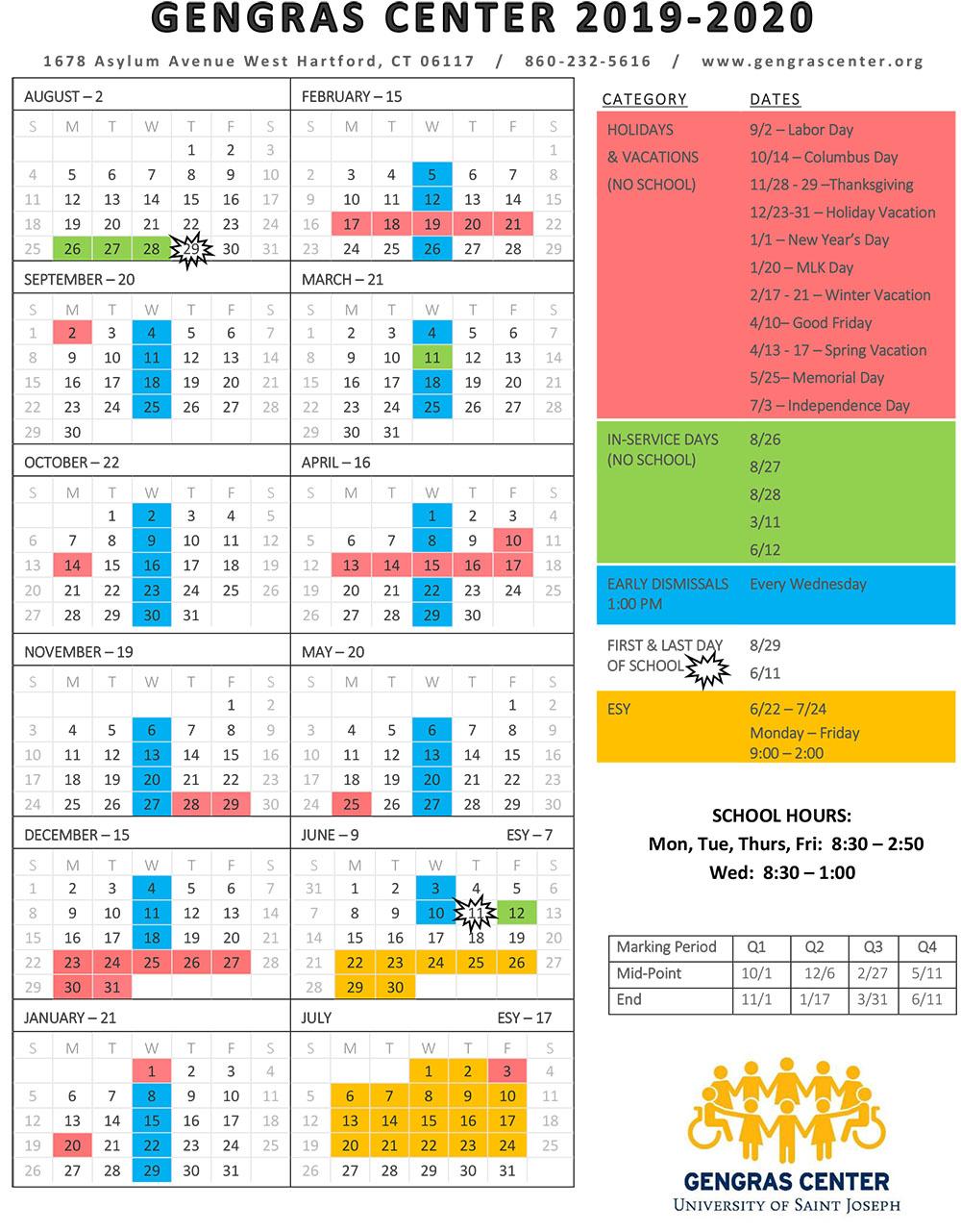 School Calendar – Gengras Center With Regard To East Hartford School Calendar 2021 2021