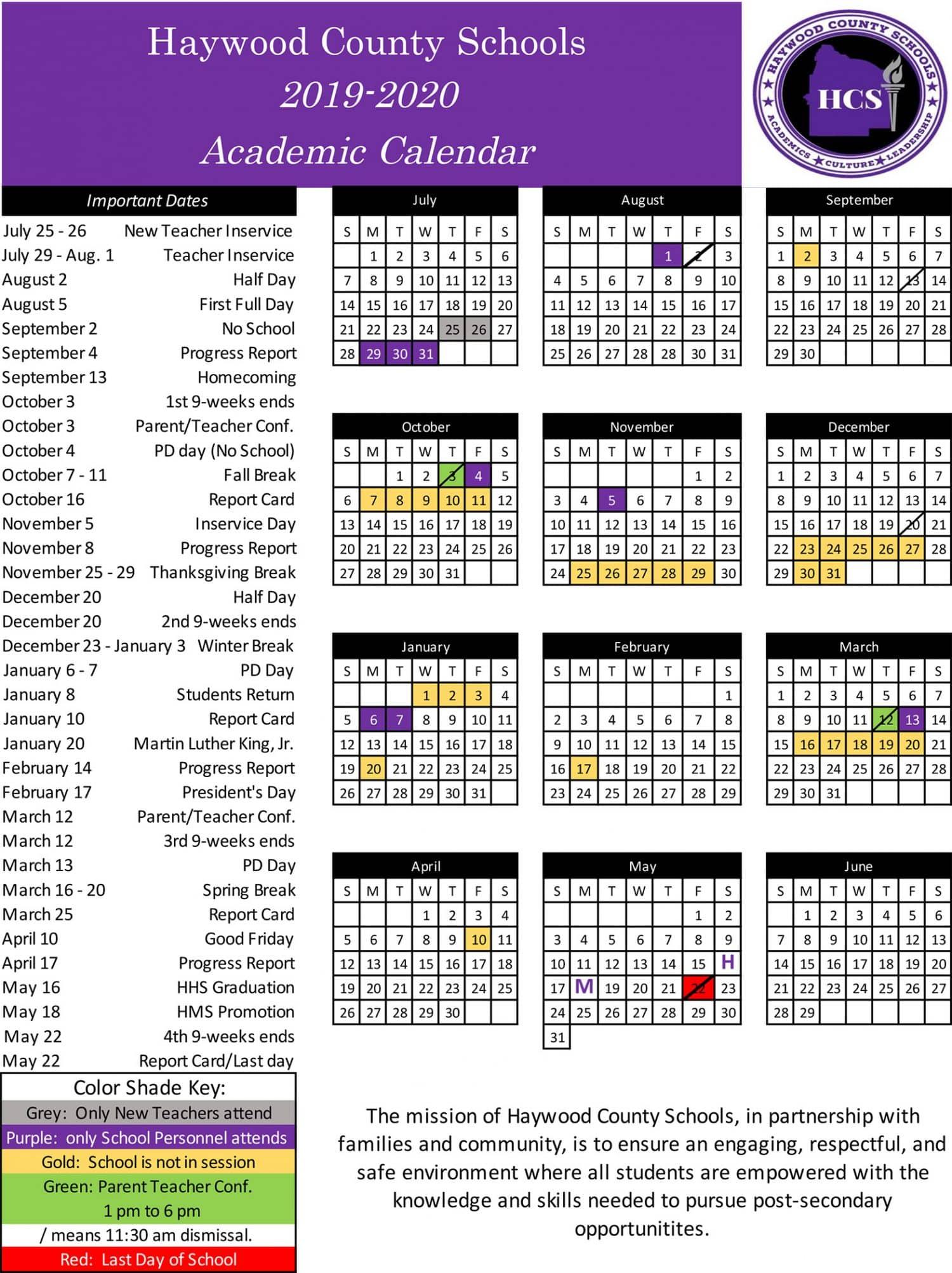 School Calendar | Haywood County Schools For University Of Memphis School Calendar