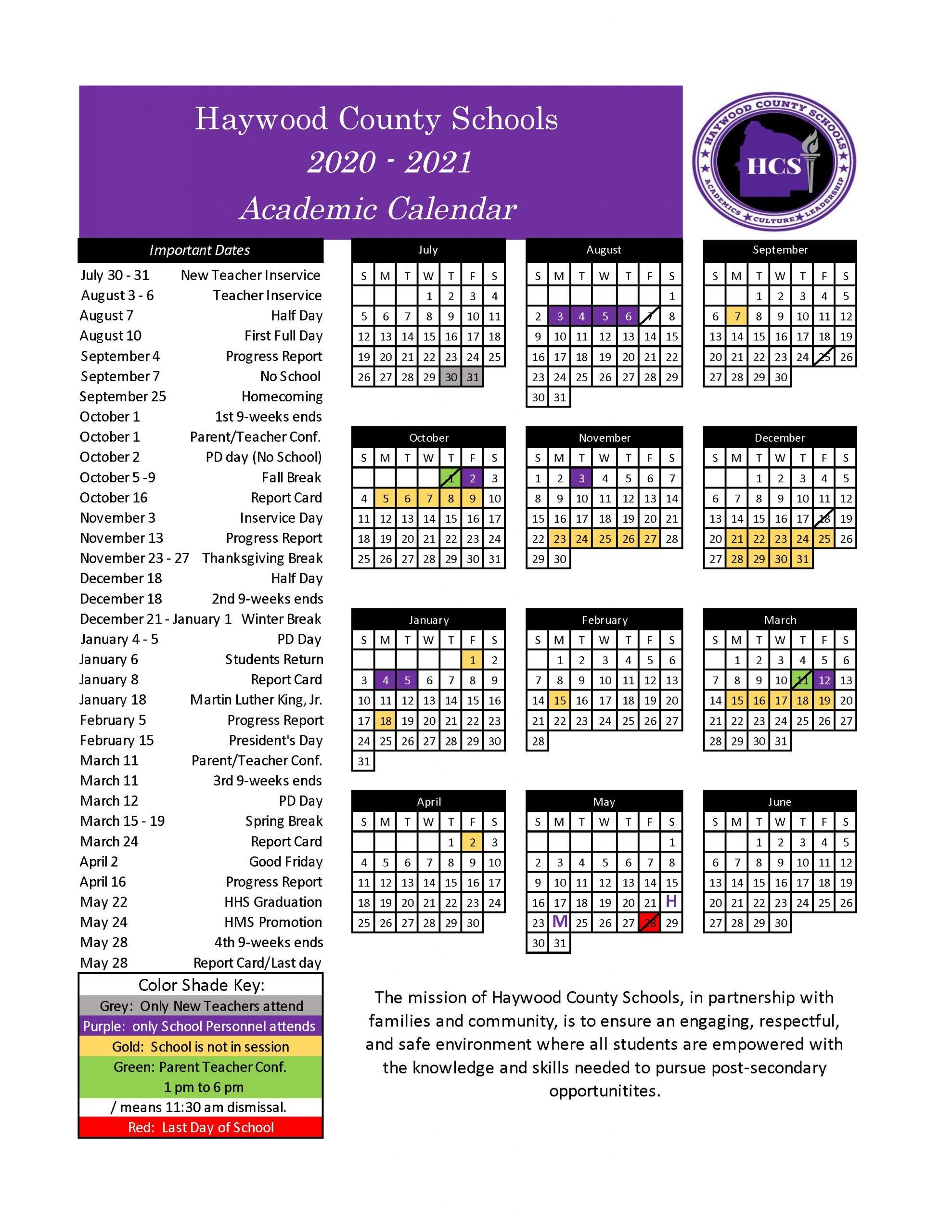 School Calendar | Haywood County Schools With Hayward Unified School District Calendar 2021
