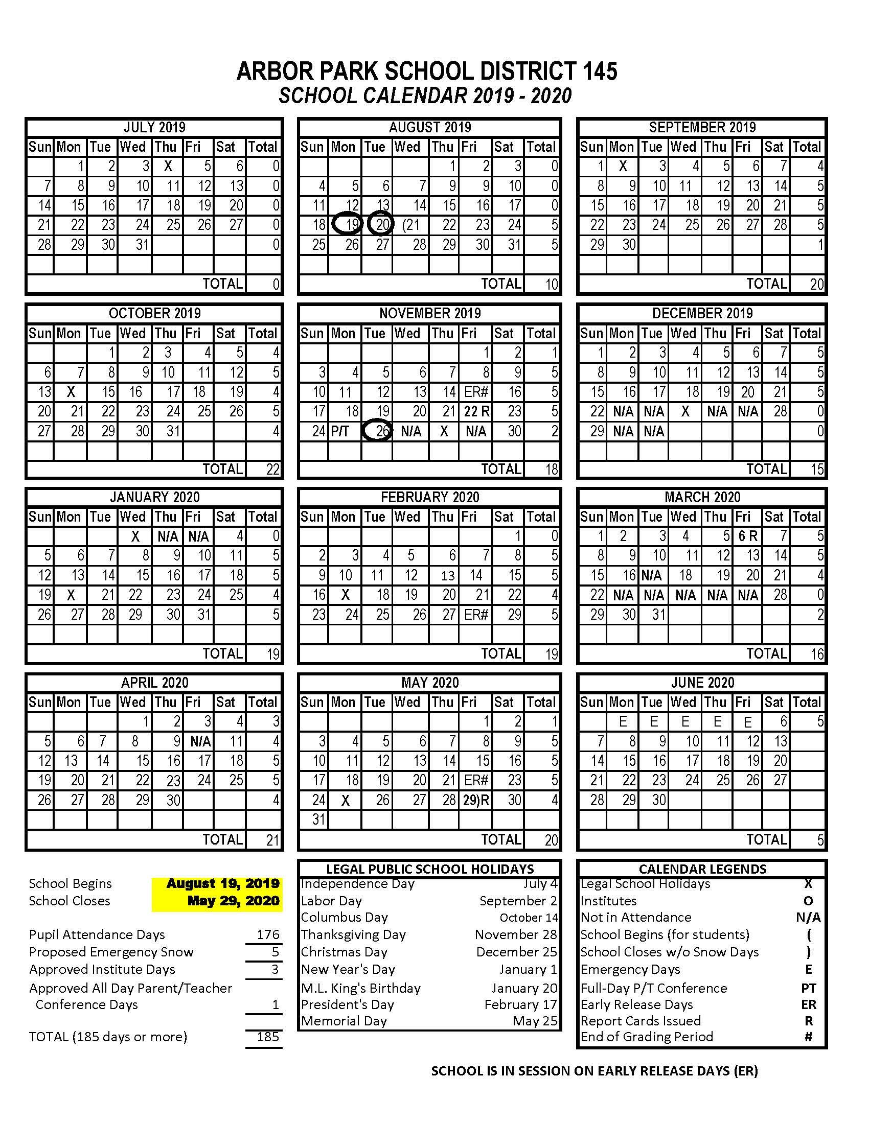 School Calendar In St Charles Illinois School Calendar