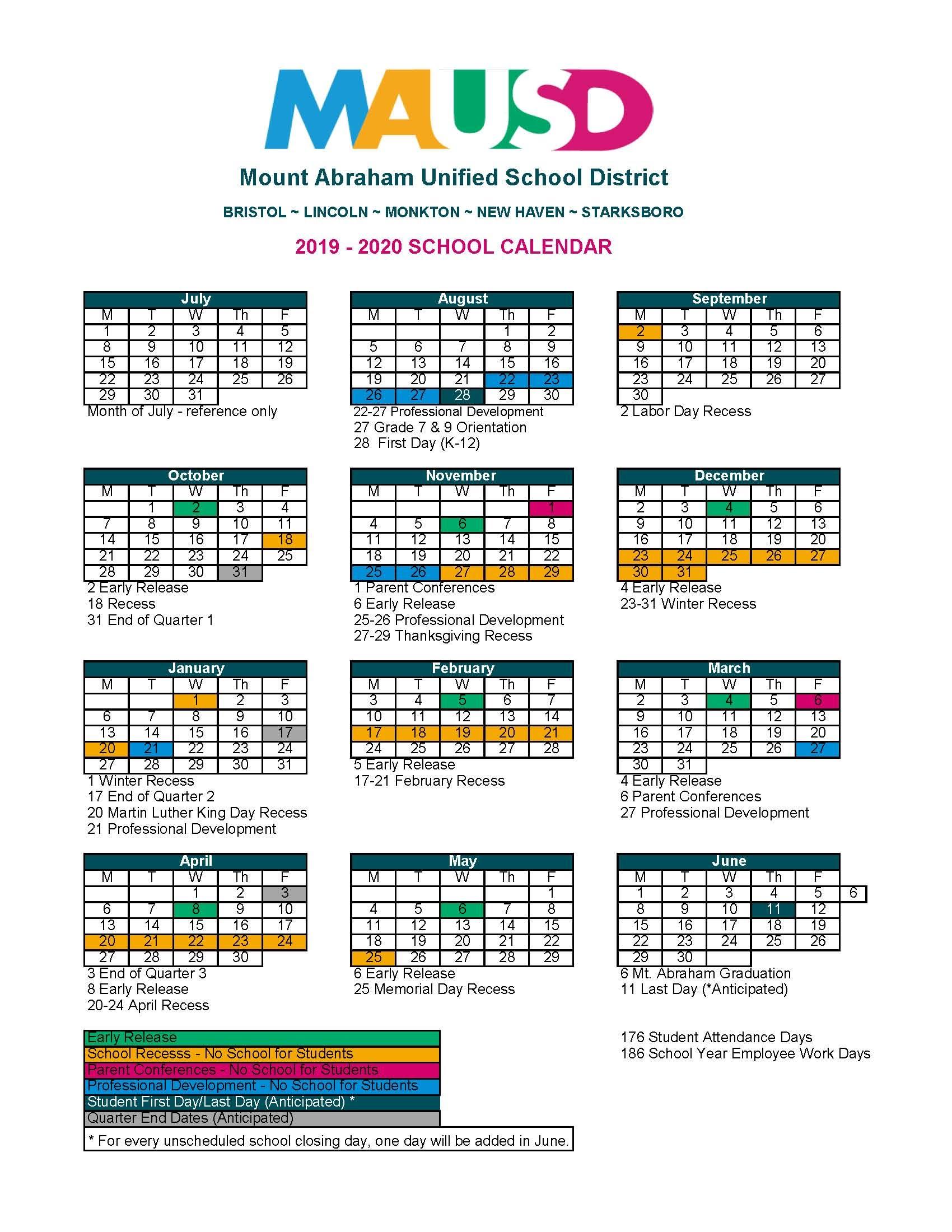 School Calendar – Mausd Inside East Orange H S Calendar