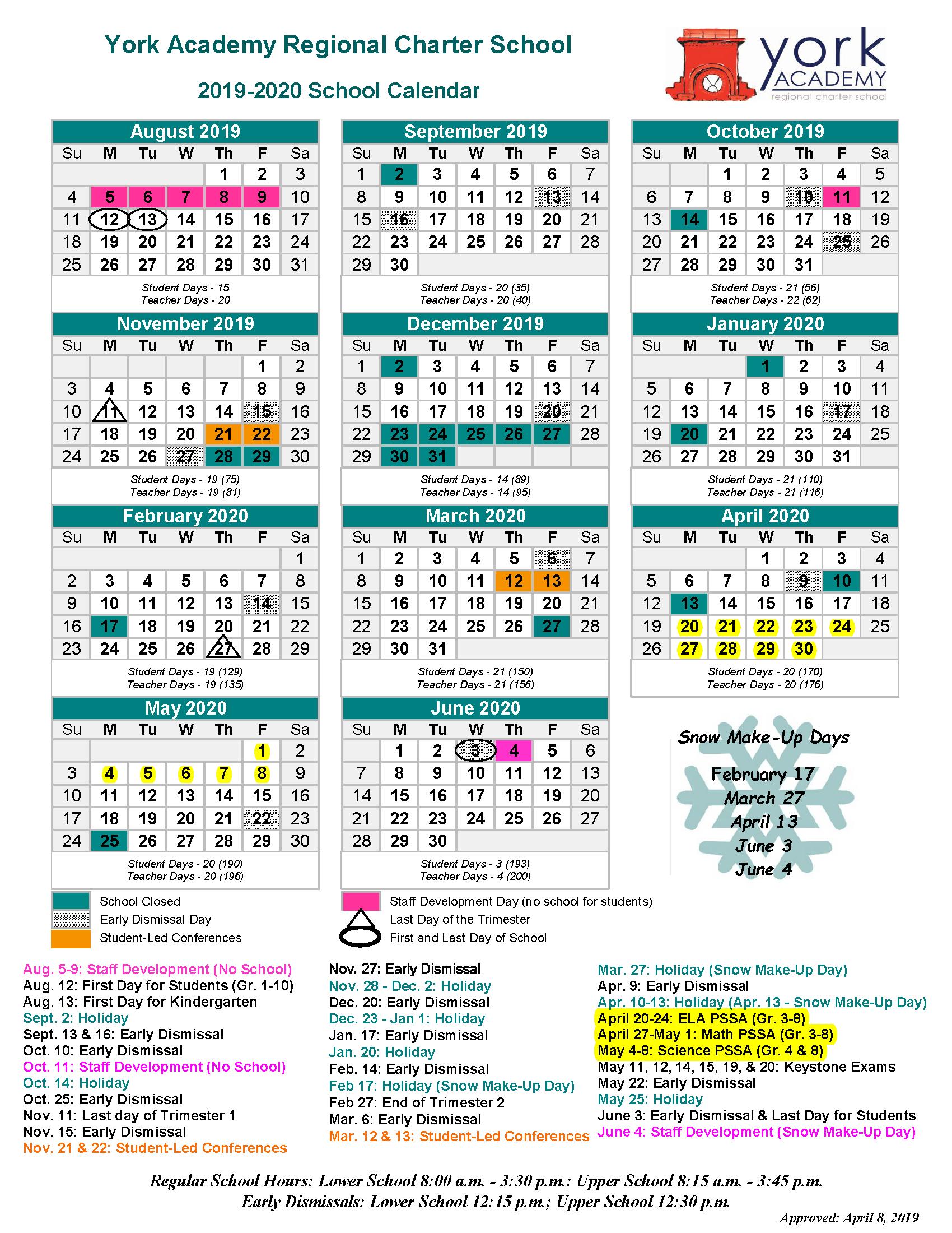 School Calendar (Pdf) - York Academy Regional Charter School Inside Mifflin County School District Calender 20 21