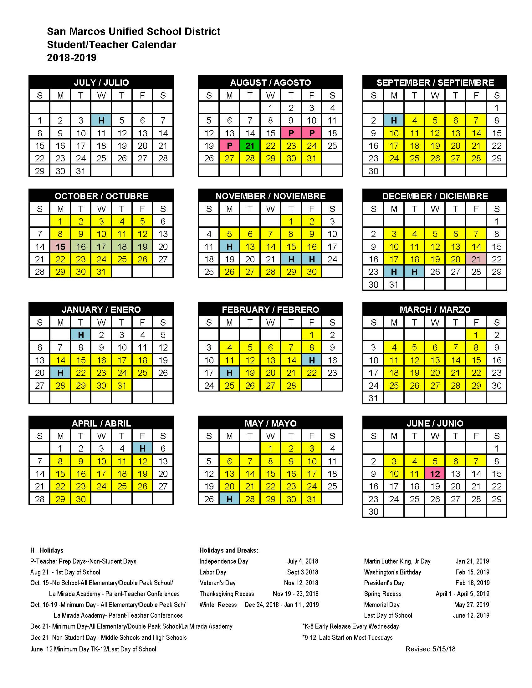 School Calendar - San Marcos High School in Paloma High School Menifee Year School Calendar