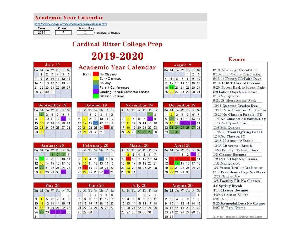 School Calendar – School Calendar – Cardinal Ritter College Prep With Saint Charles Communty College Calendar 2020