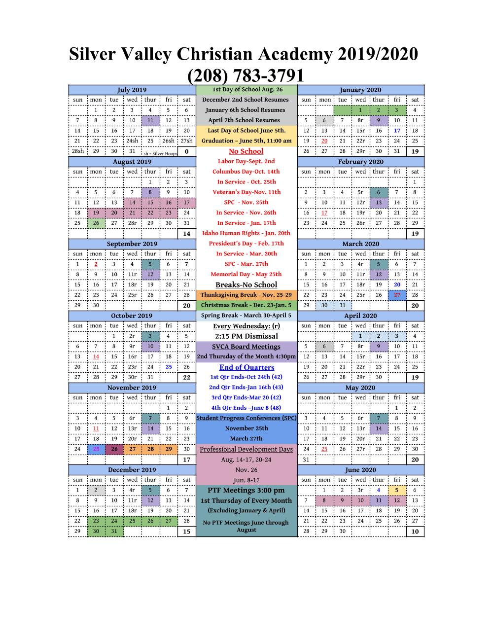 School Calendar — Silver Valley Christian Academy For Spokane Falls Commmunity College Acedemic Calender