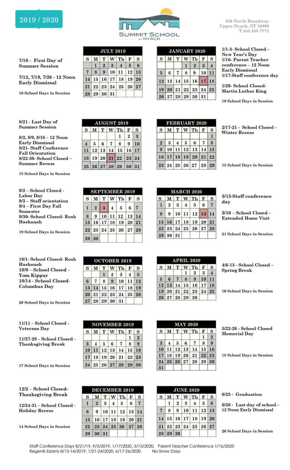 School Calendar – Summit School At Nyack Throughout Brookdale Community College Calendar