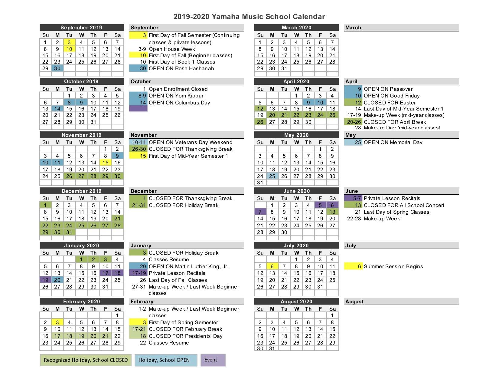 School Calendar | Yamaha Music School Throughout Bridgewater State University Calendar 2021