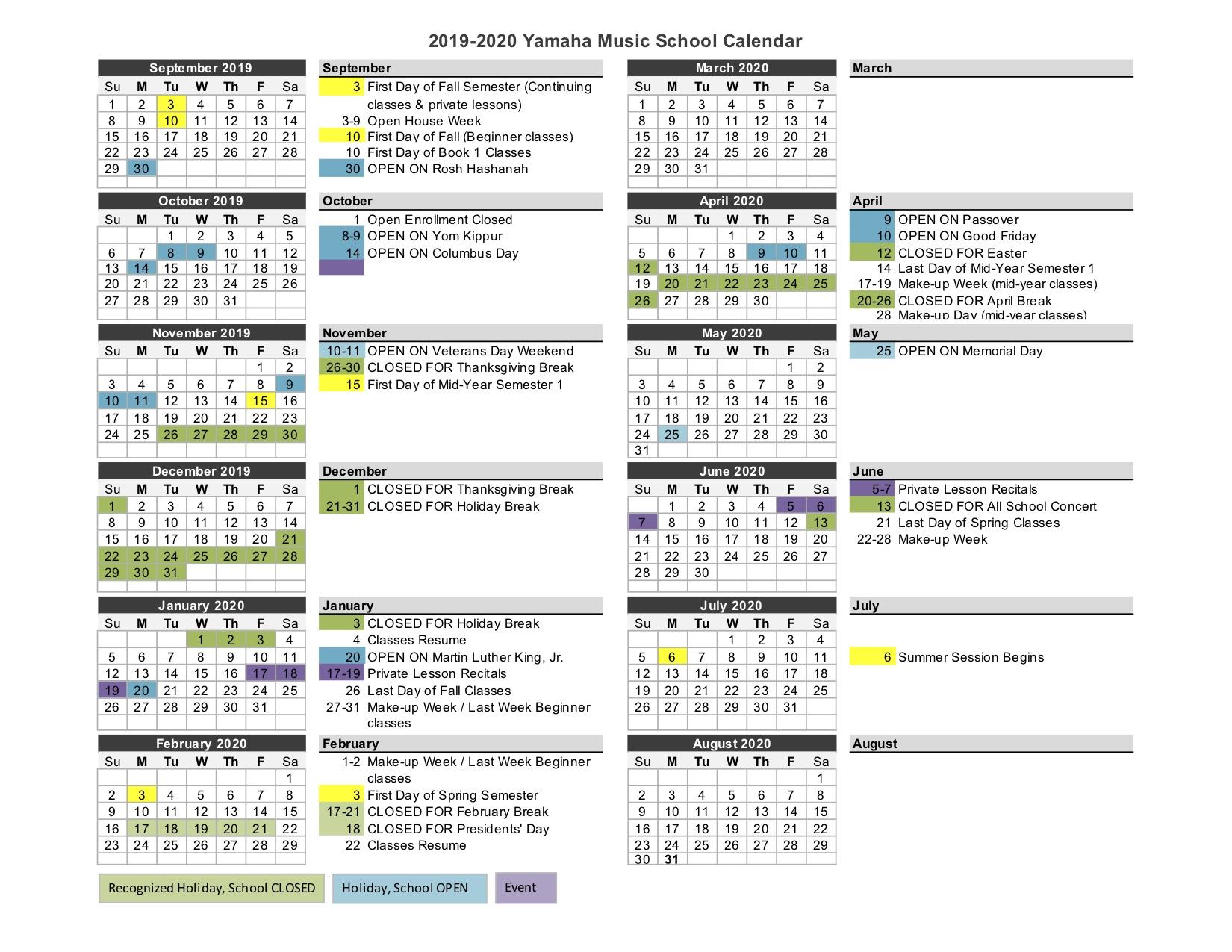 School Calendar | Yamaha Music School Throughout Johnson And Wales 2021 2020 Calendar