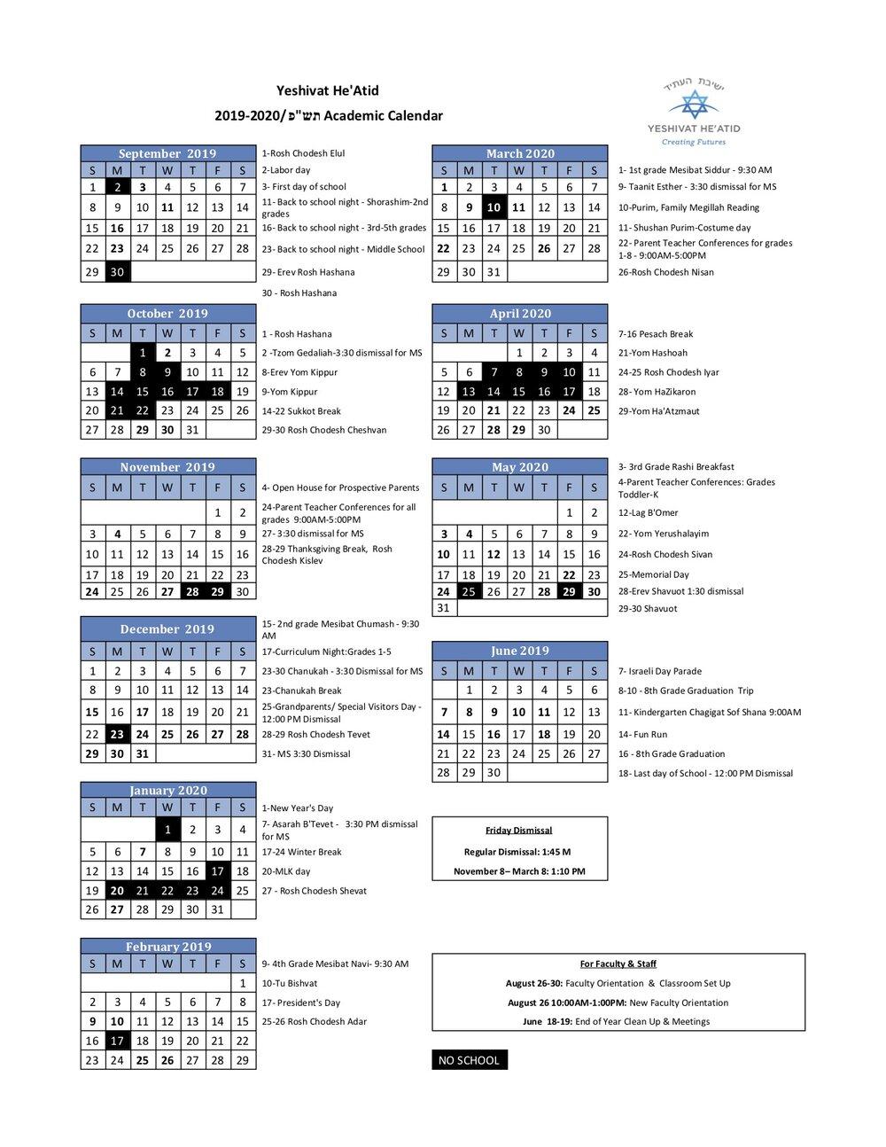 School Calendar — Yeshivat He'atid Pertaining To Naugatuck Valley Community College Calendar