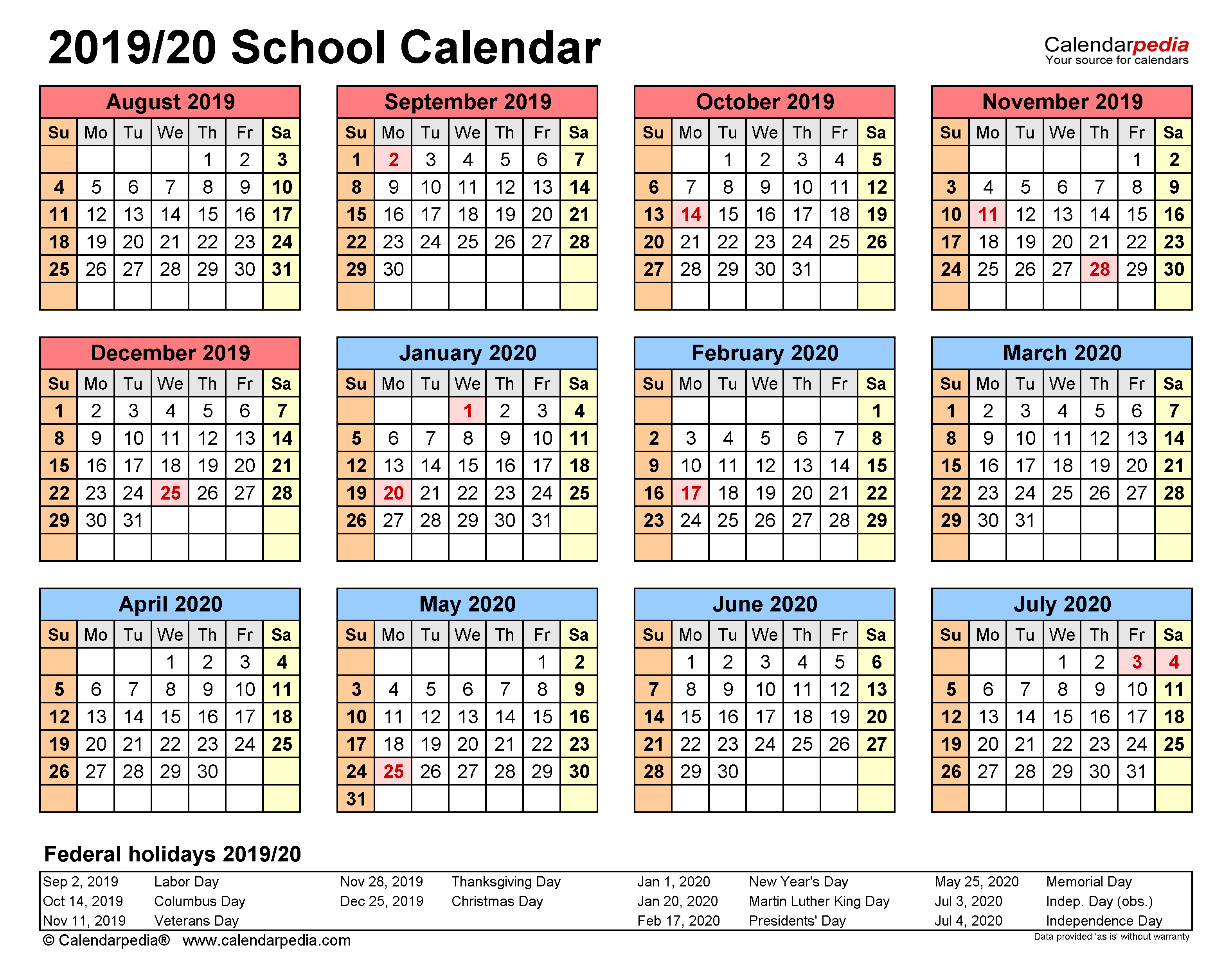 School Calendars 2019/2020 - Free Printable Pdf Templates Inside Calendar Year 2021 Department Of Education