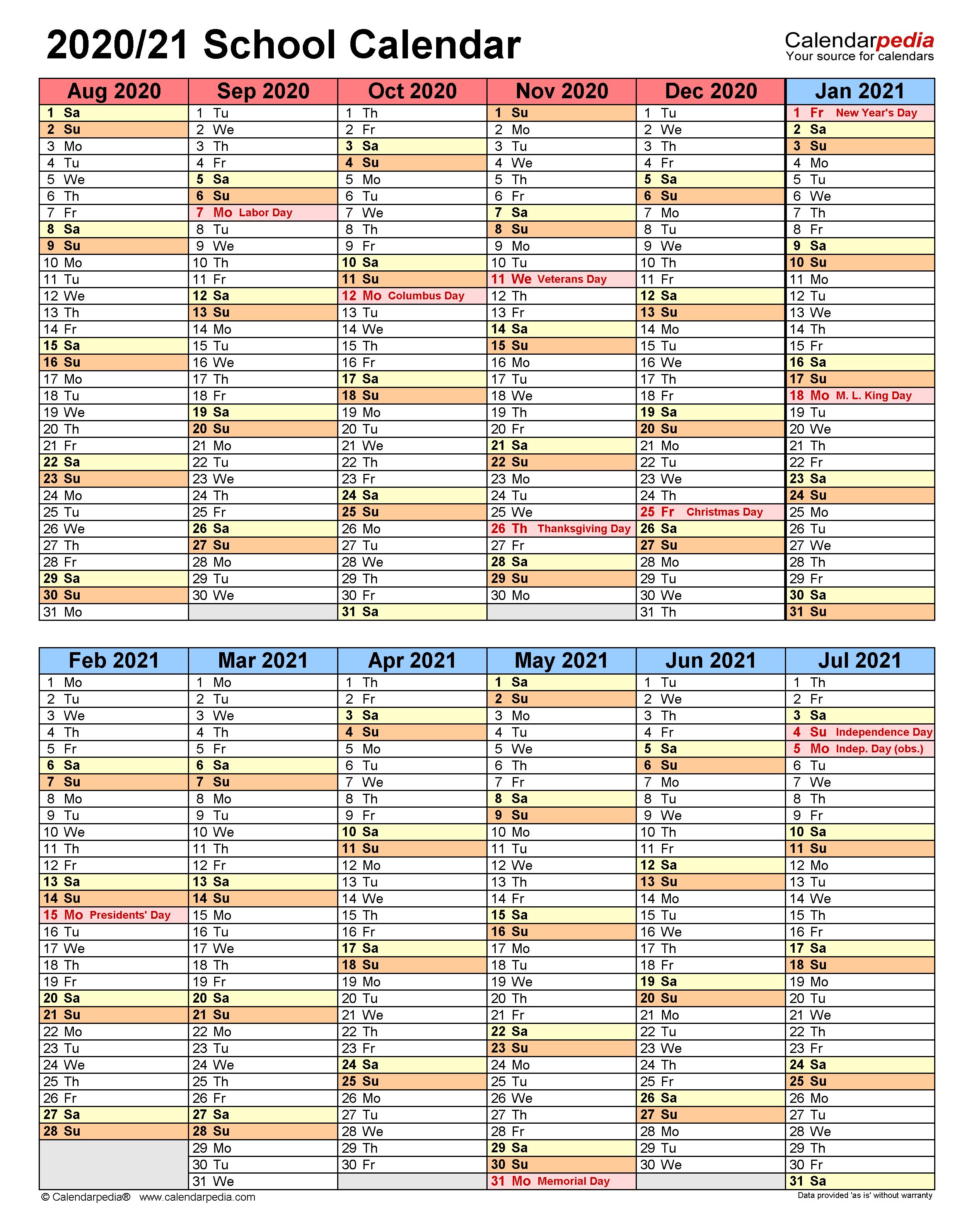 School Calendars 2020/2021 - Free Printable Word Templates In Columbus State Calendar 2021 20