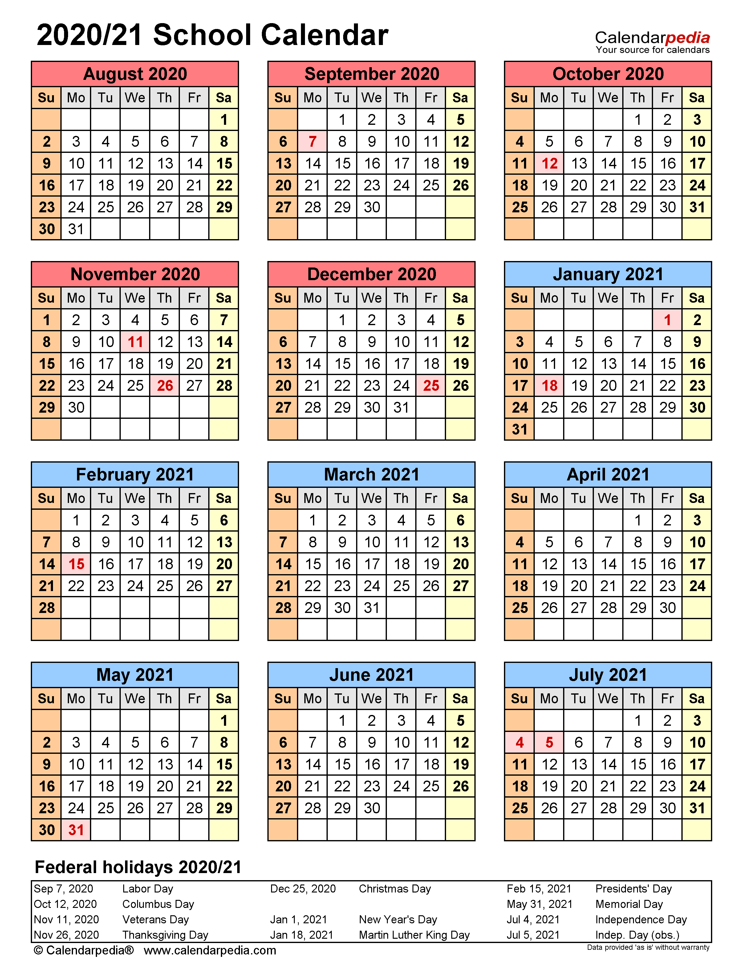 School Calendars 2020/2021 - Free Printable Word Templates In Printable 2020 2021 School Calendar