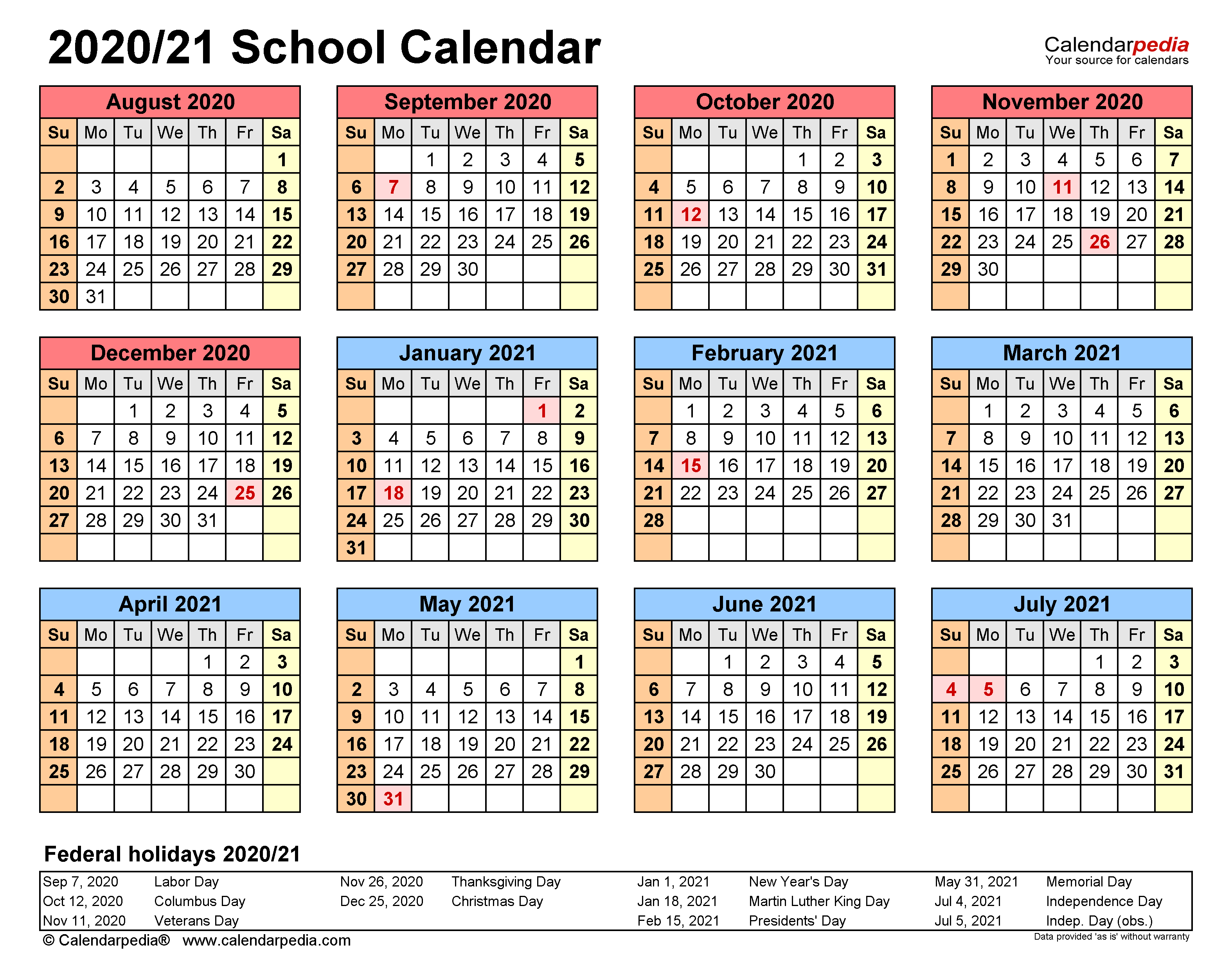 School Calendars 2020/2021 - Free Printable Word Templates Inside Columbus State Calendar 2021 20
