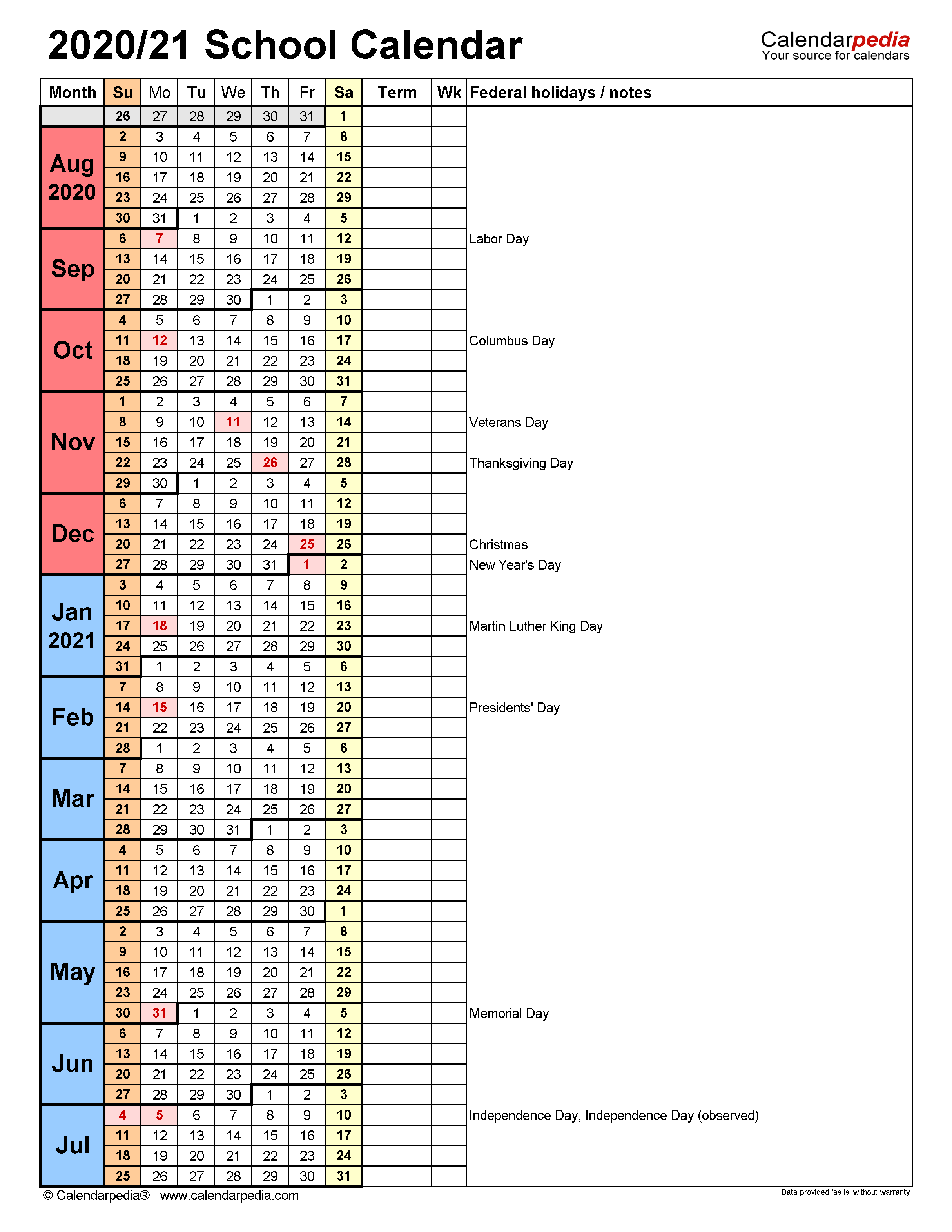 School Calendars 2020/2021 - Free Printable Word Templates Intended For Columbus State Calendar 2021 20
