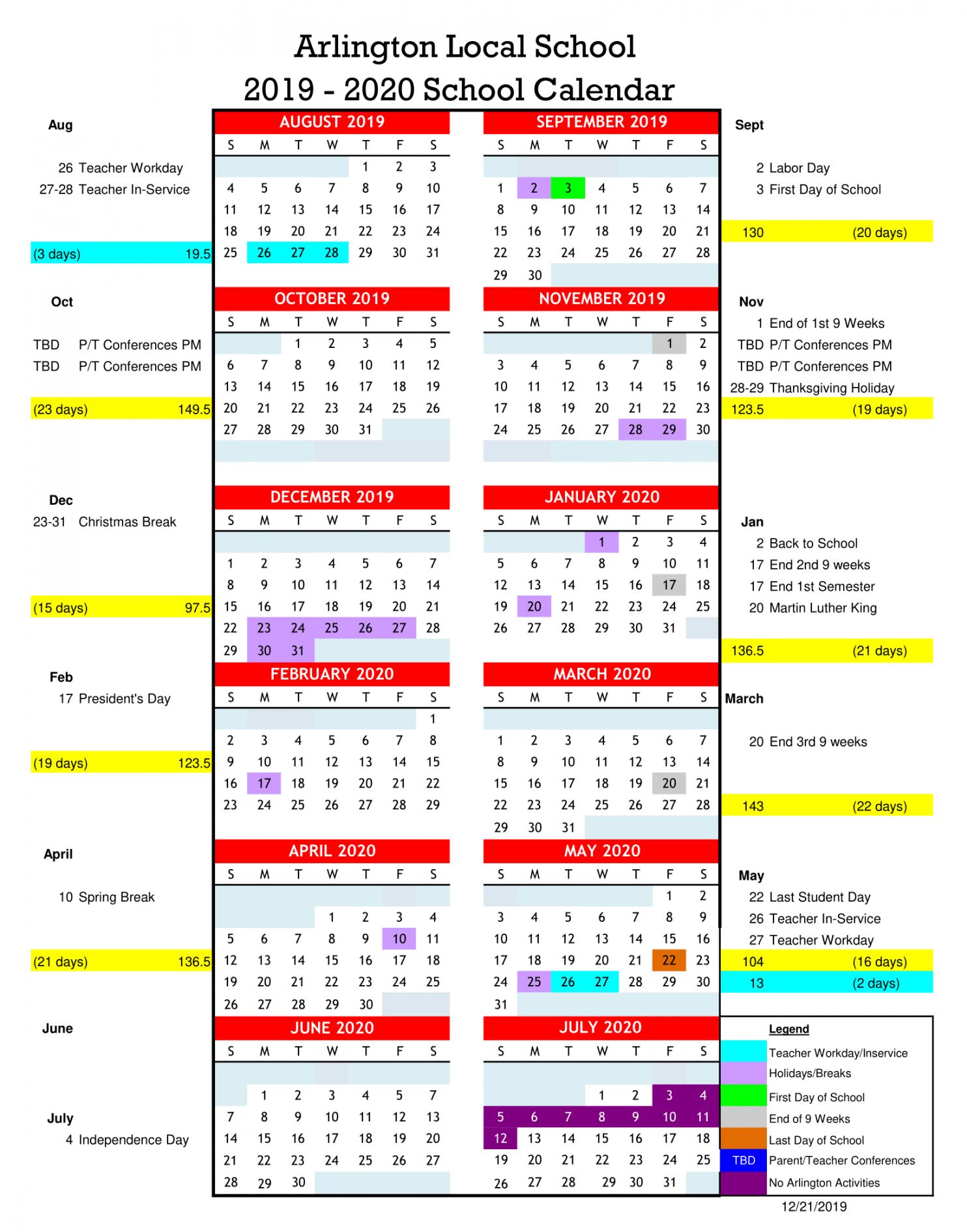School Calendars - Arlington Local Schools Regarding University Of Findlay Academic Calendar 2021