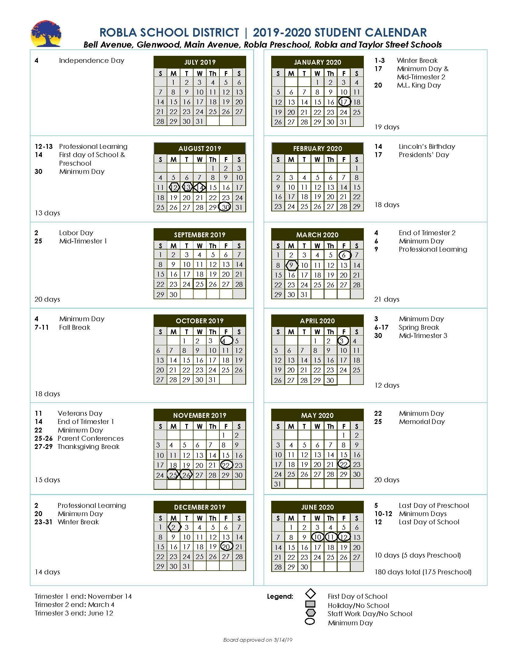 School Calendars – Student Enrollment – Robla School District For Lodi Unified School District Calendar