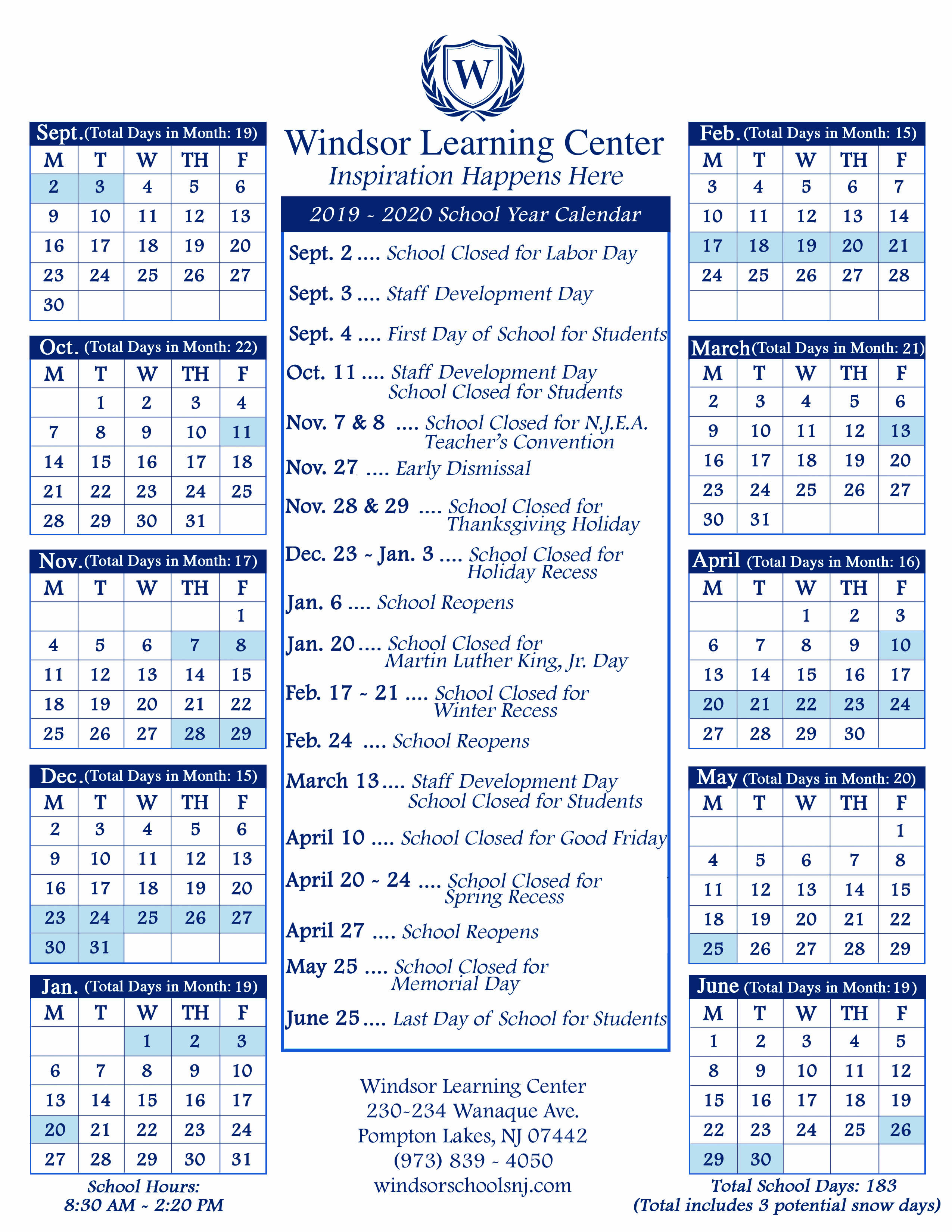 School Calendars – Windsor Schools In Rye Country Day School Calendar 2021