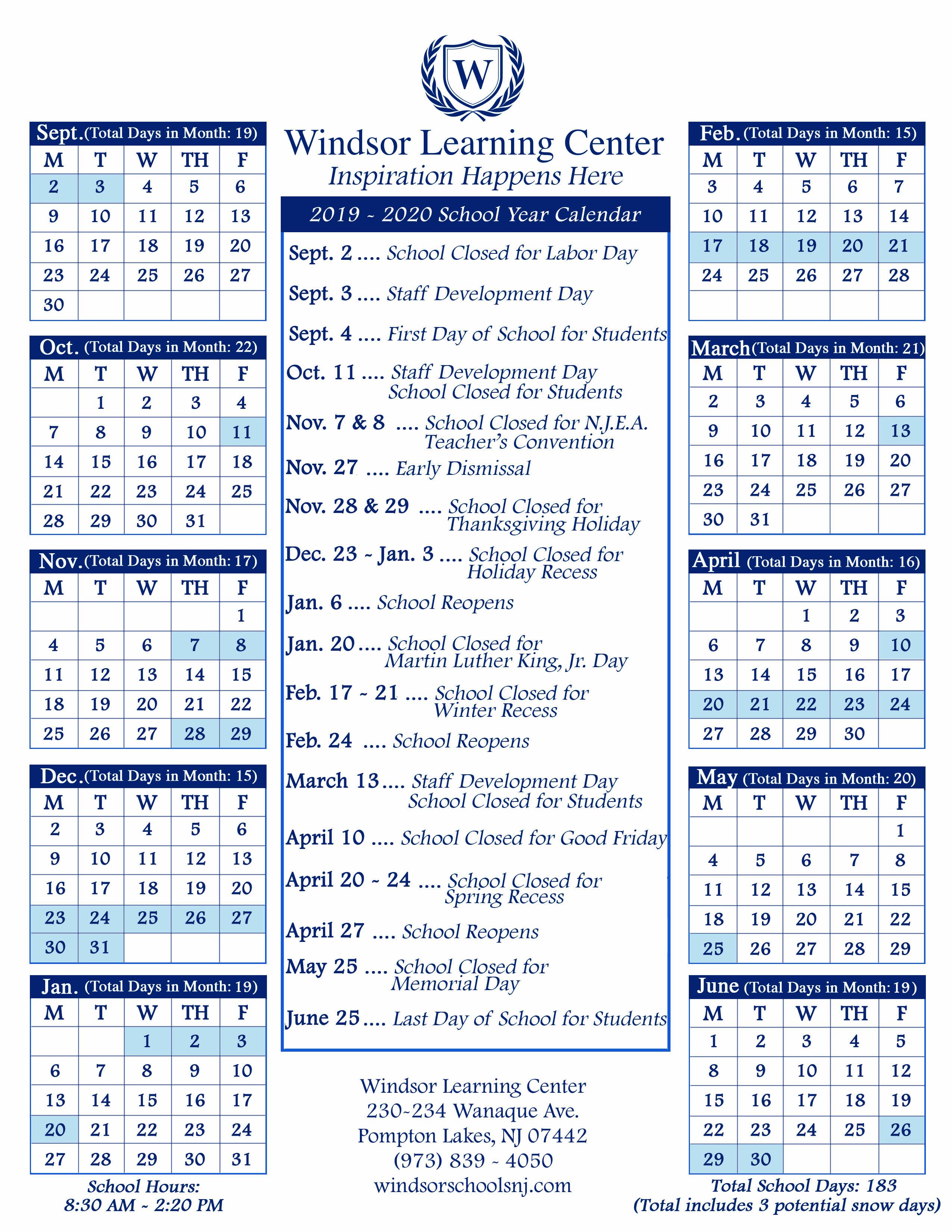 School Calendars - Windsor Schools Within Francis Lewis High School 2021 Calendar
