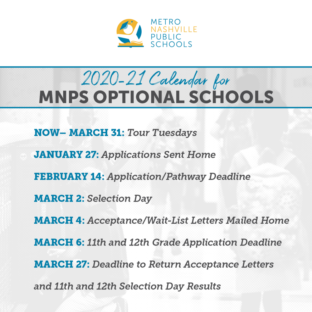 School Choice Applications For 2020-21 Open Monday, Jan. 27 inside Metro Nashville Public Schools Calendar 2021