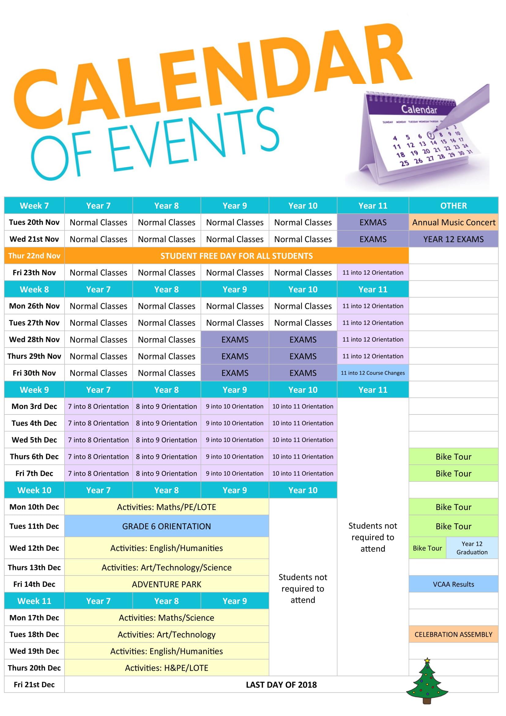School Events Calendar Regarding Cash 3 Midday Yearly Calendar