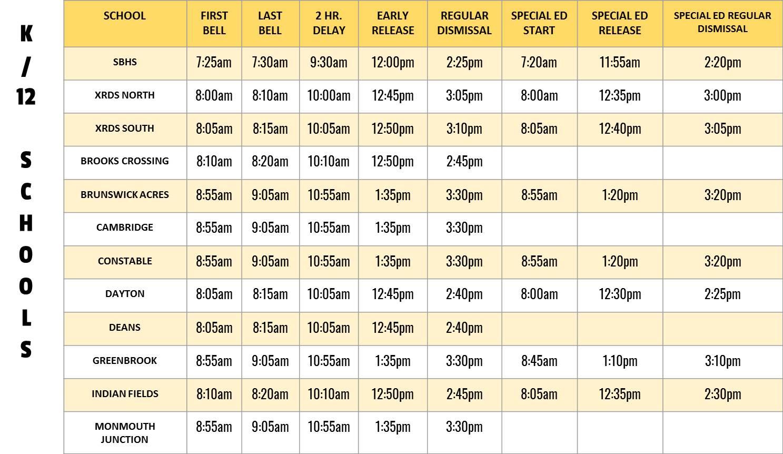 School Hours – South Brunswick Board Of Education With New Brunswick Public Schools Calendar