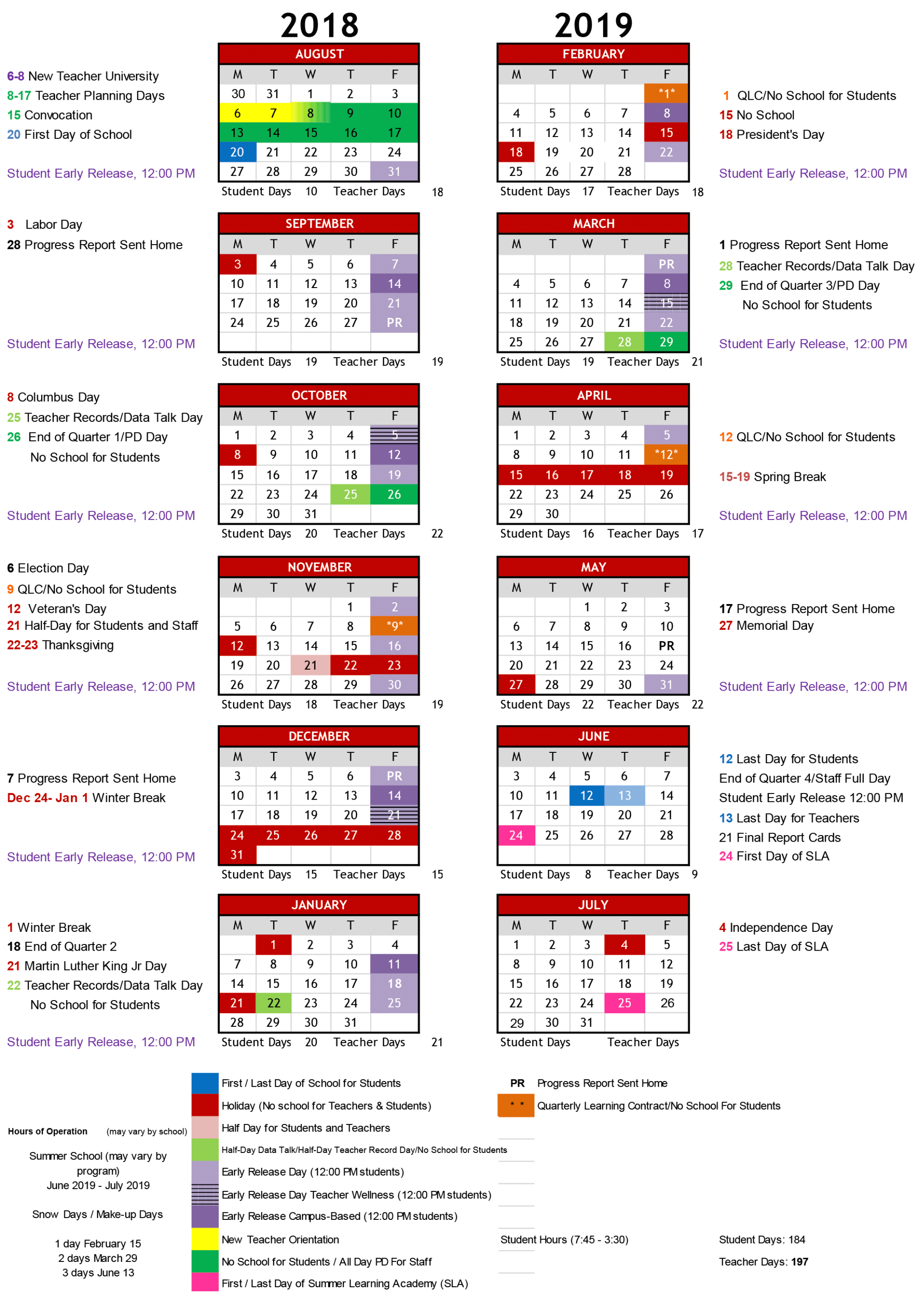School Year 2018 19 Calendar – Friendship Public Charter School Regarding School Schedule For Springs Charter School This Week