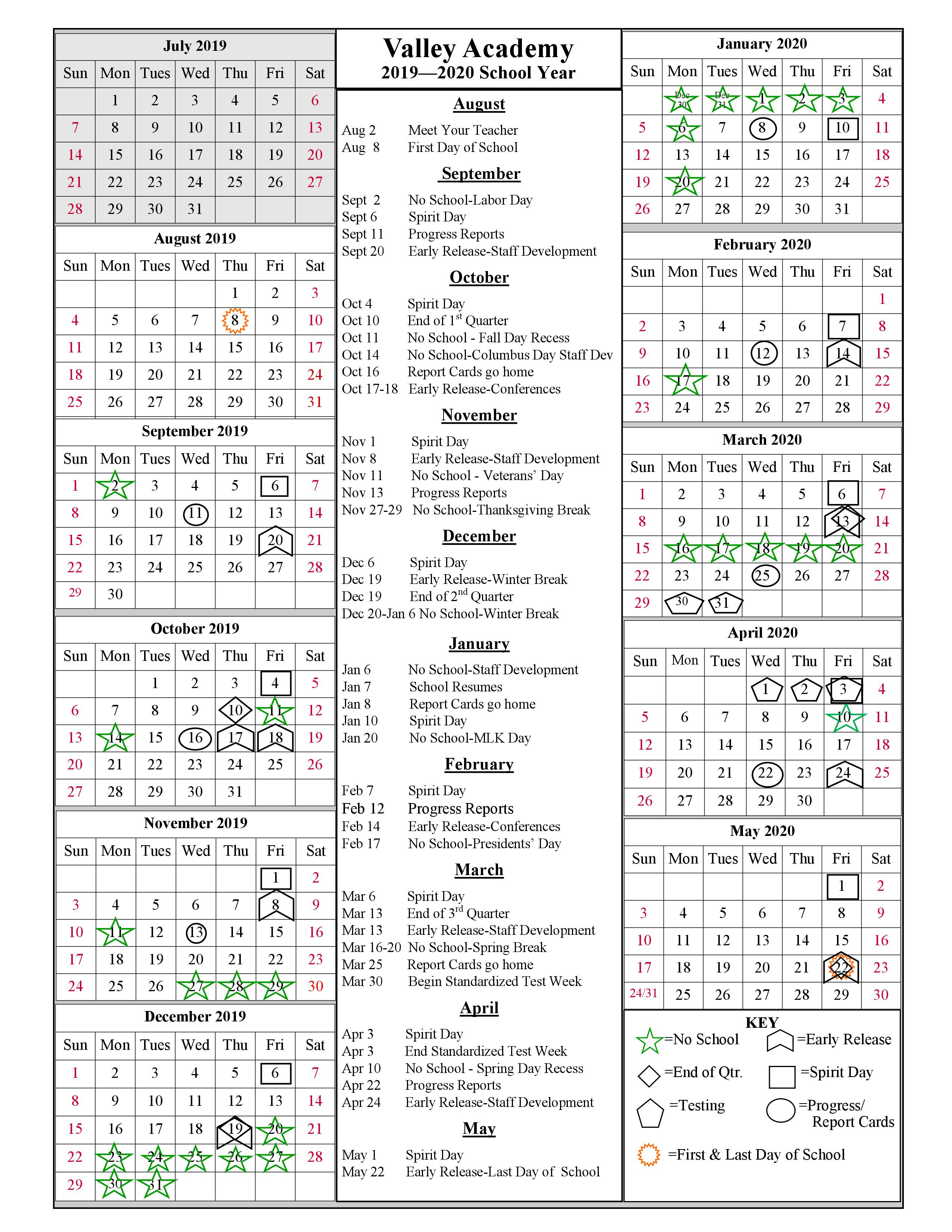 School Year Calendar 2019 2020 | Valley Academy For University Of Phoenix Holiday Calendar 2020