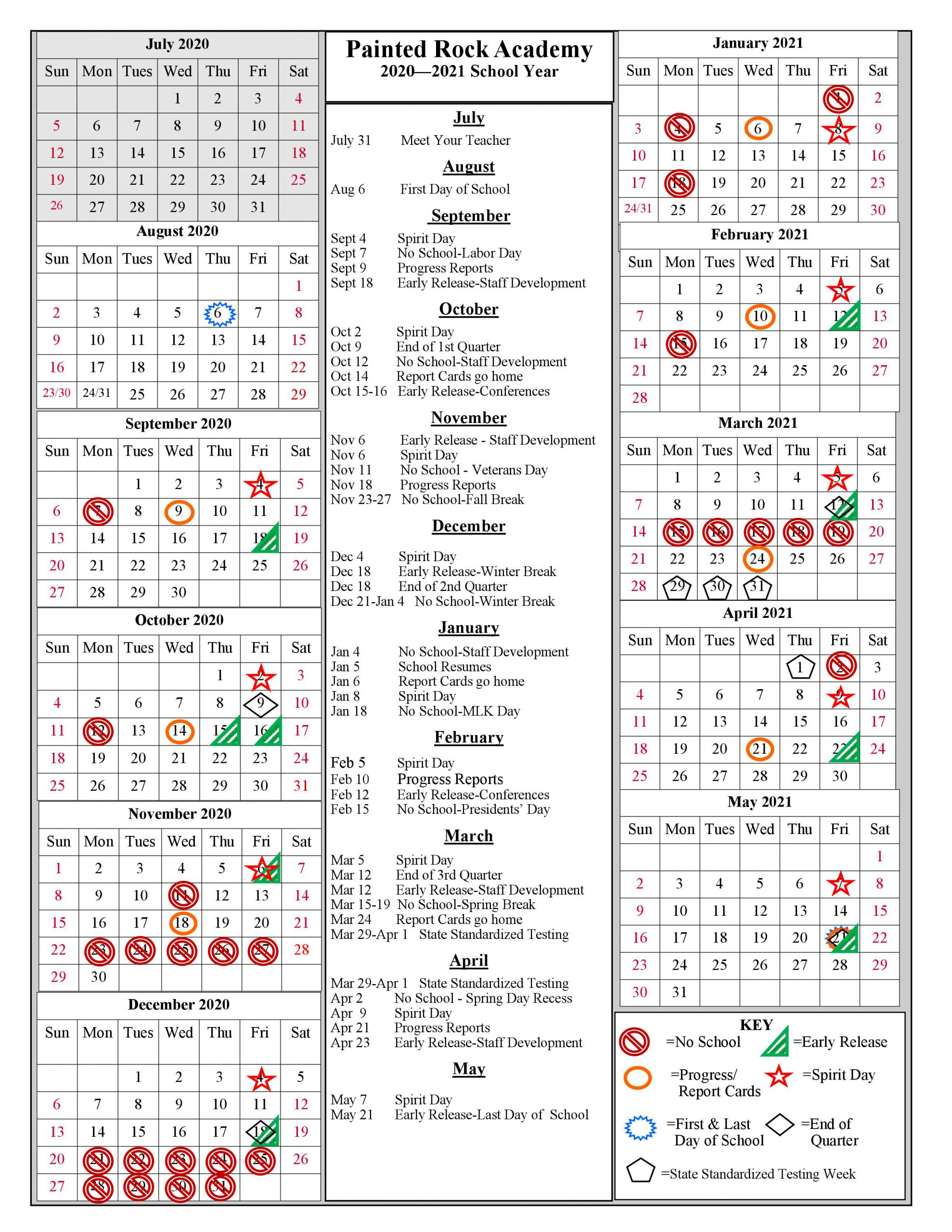School Year Calendar 2020 2021 | Painted Rock Academy With Gcu Academic Calendar 2021 20