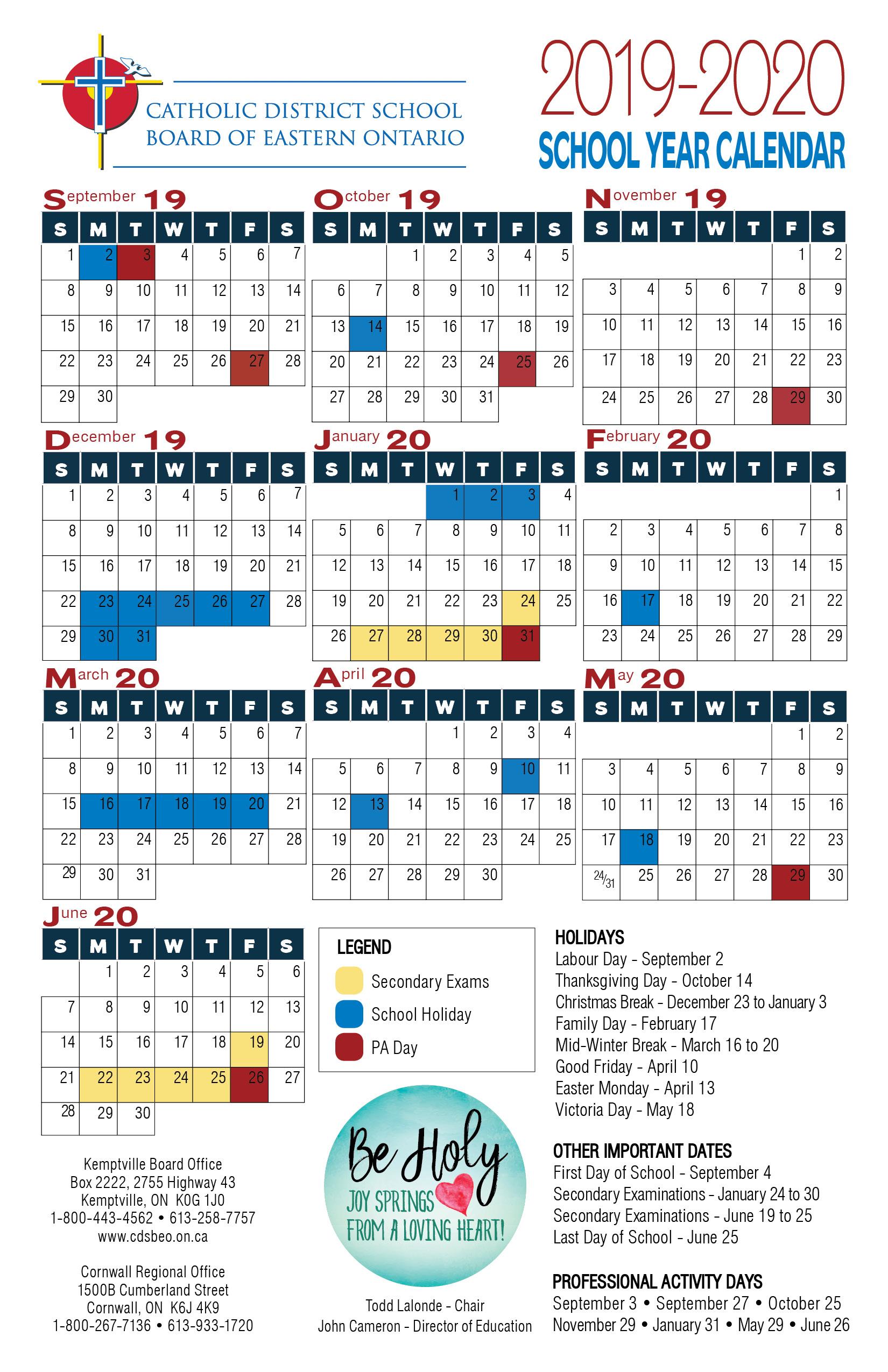 School Year Calendar | Catholic District School Board Of Intended For West Ottawa School Calendar