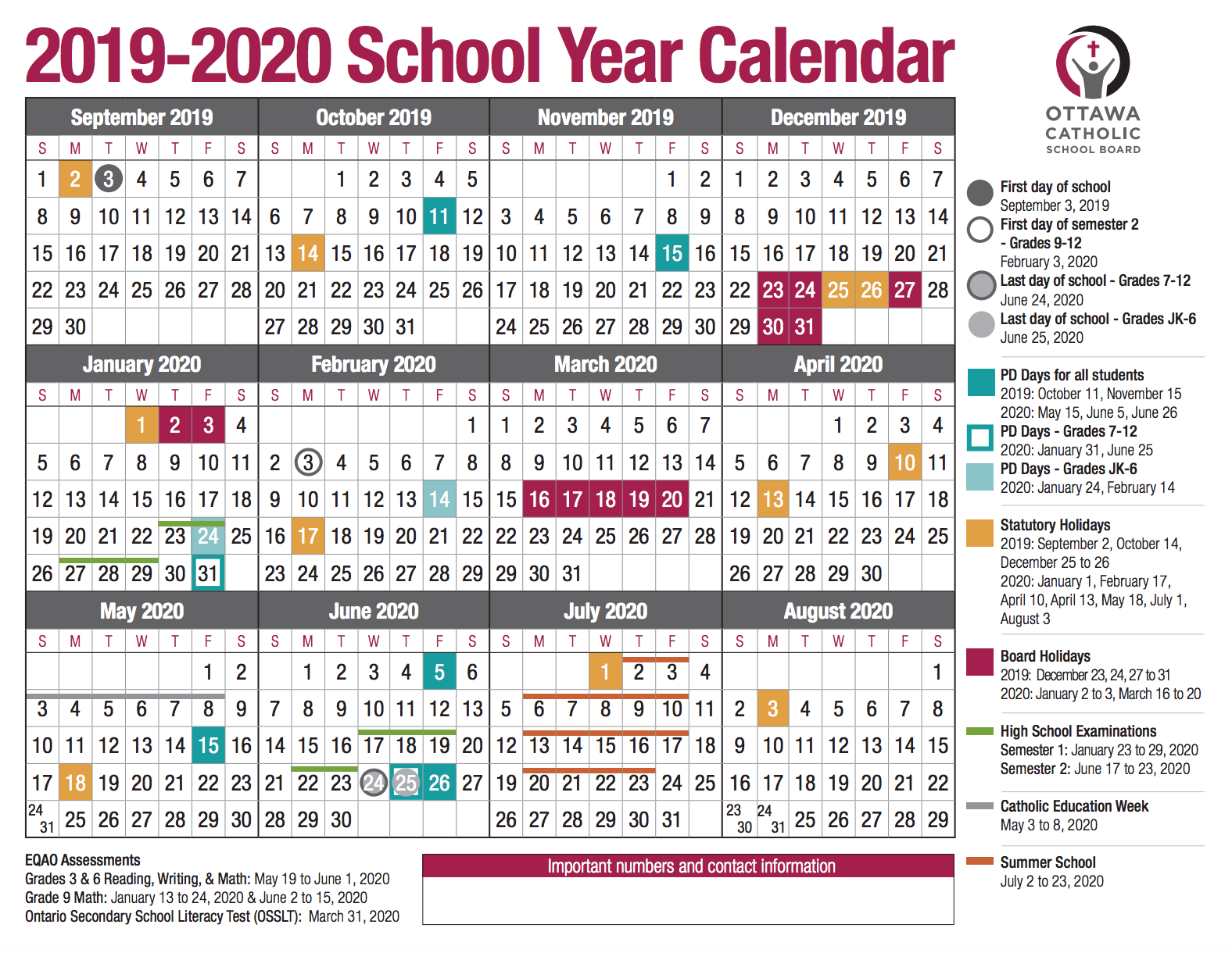 School Year Calendar From The Ocsb Within Board Of Education Calendar
