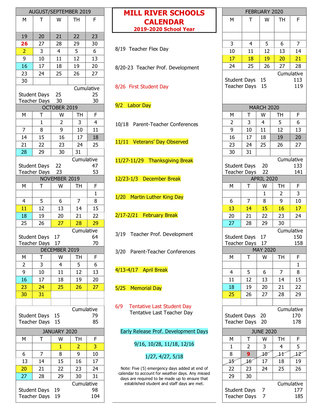 School Year Calendar – Mill River Schools With Regard To 19 20 Martin County School Calender