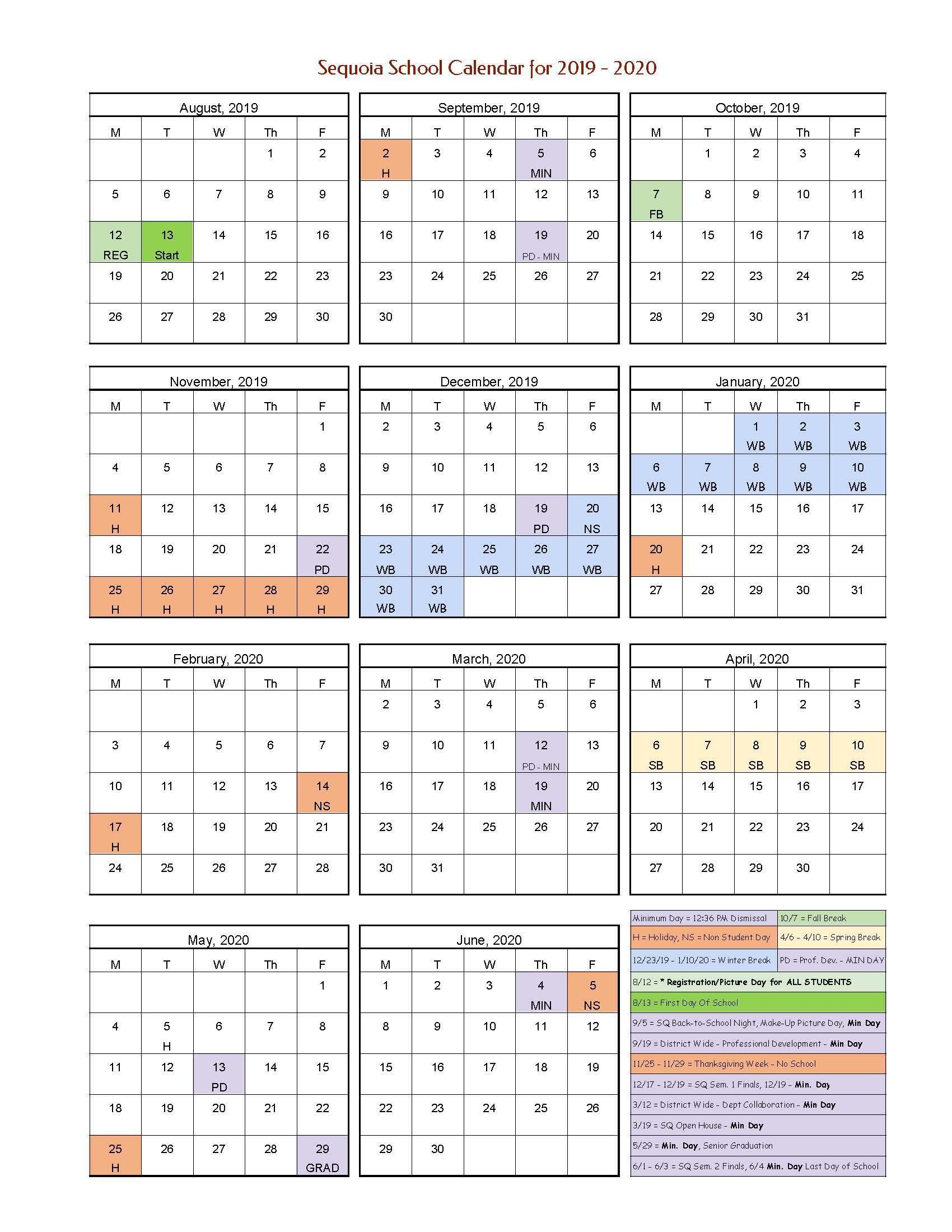 School Year Calendar – Parents – Sequoia School Within Victorville School District Calendar
