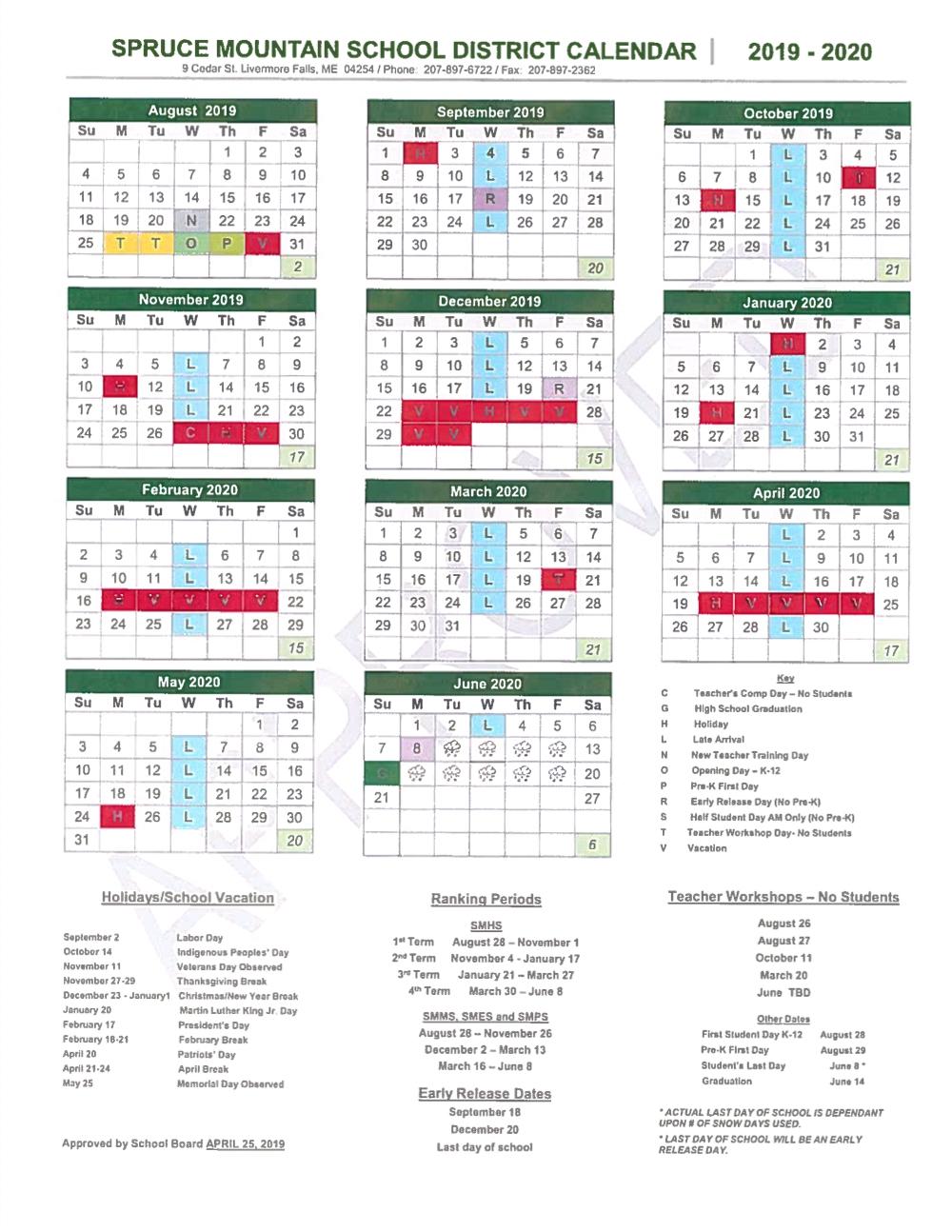 School Year Calendar – Spruce Mountain School District With Regard To Livermore School Calendar