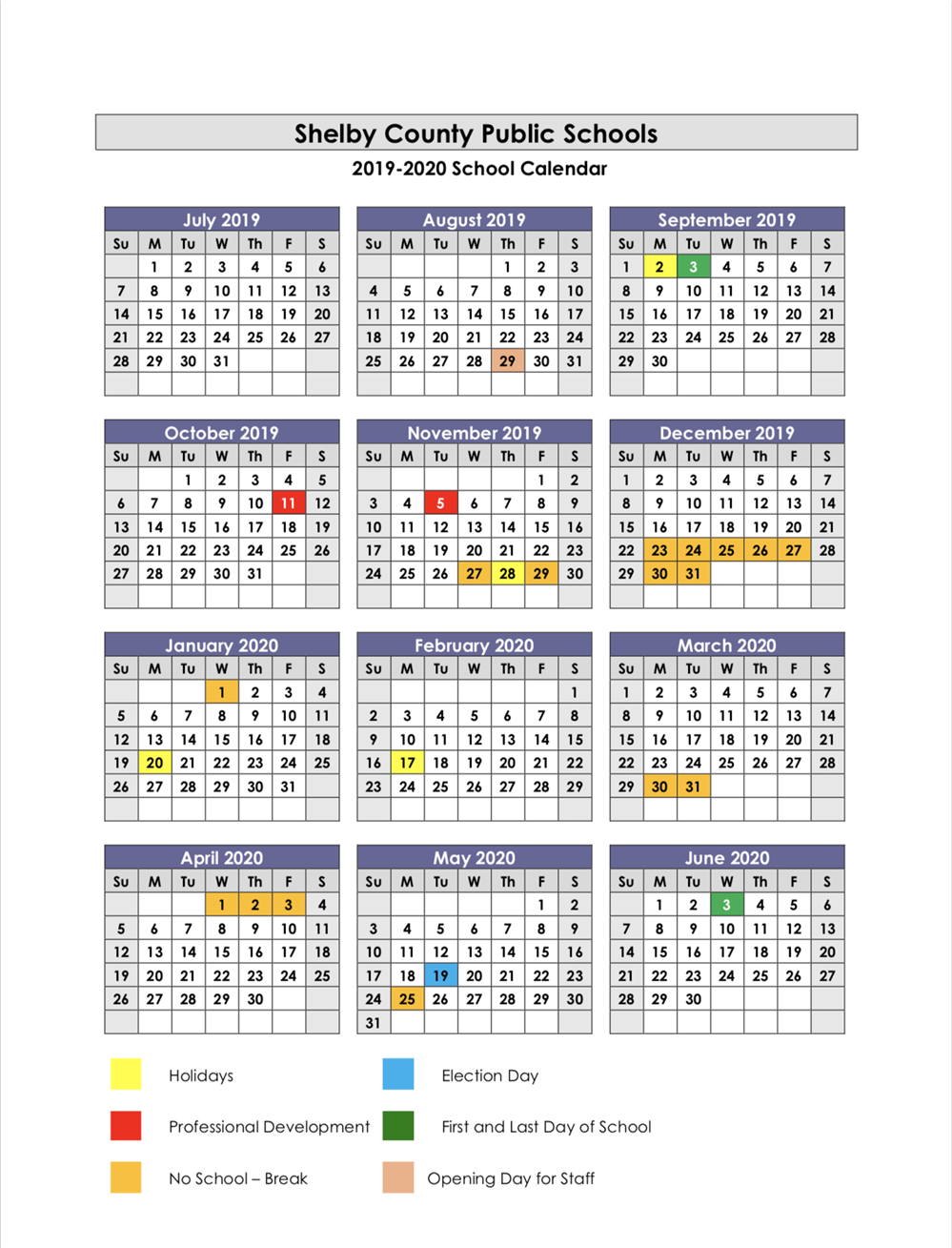 School Year Calendars / 2019-2020 School Calendar within West Clark School Calendar