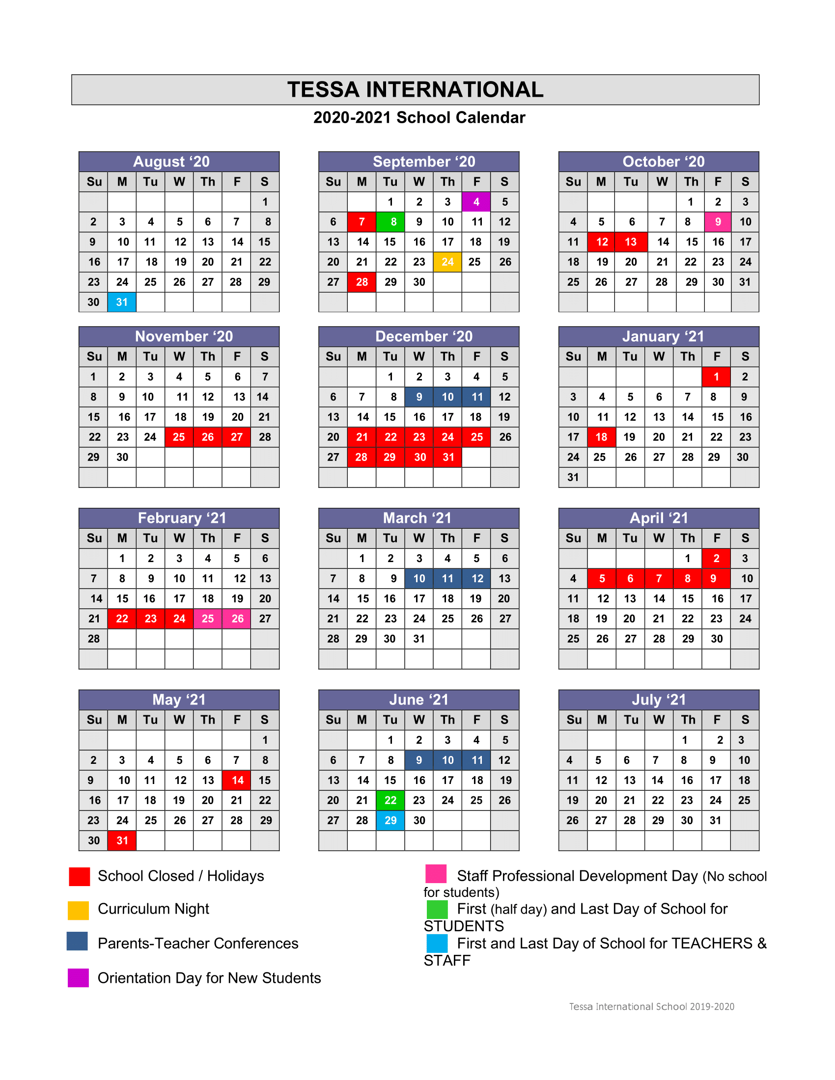 Schoolcalendar 2020 2021 1 - Tessa International School Pertaining To Academic Calender For Middlesex County College For 2021