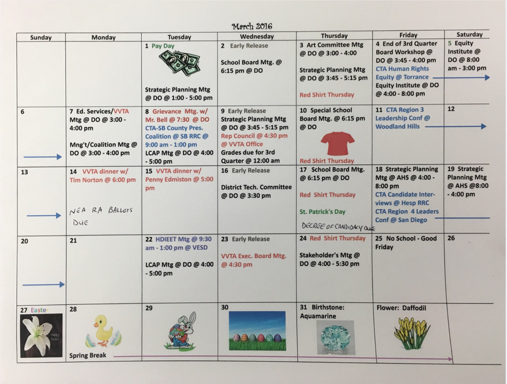 Sept 2016 Vvta Calendar – Victor Valley Teachers' Association In 2021  2020 Hesperia School District Calendar