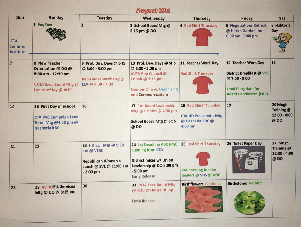 Sept 2016 Vvta Calendar – Victor Valley Teachers' Association Regarding 2021  2020 Hesperia School District Calendar