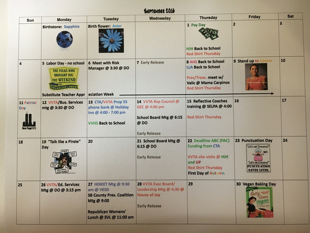Sept 2016 Vvta Calendar – Victor Valley Teachers' Association Within 2021  2020 Hesperia School District Calendar