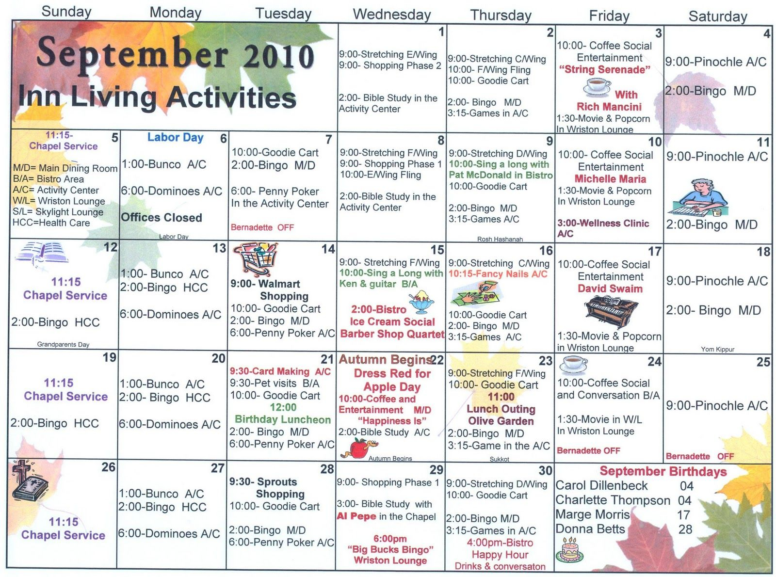 September Assisted Living Activities (With Images within Assisted Living Activities Schedule